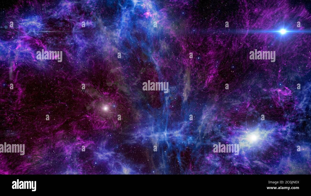Background of galaxies and nebula illustration Stock Photo