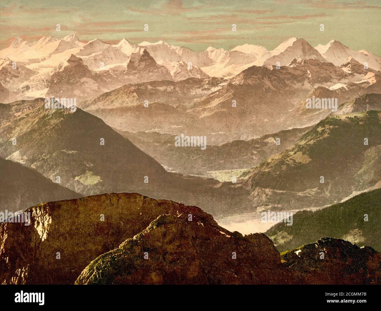 Bernese Alps from Pilatus, Bernese Oberland, Switzerland 1890. Stock Photo