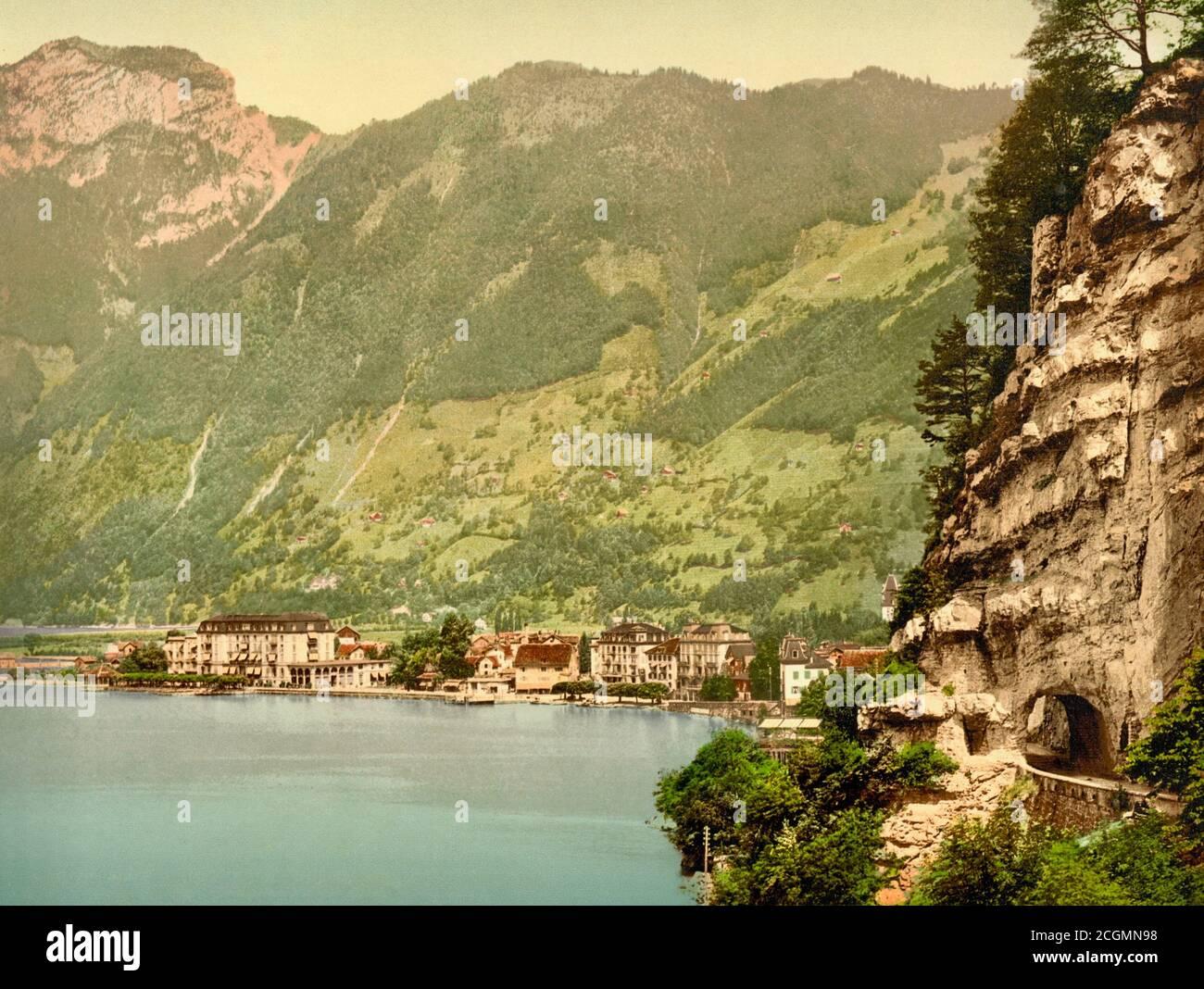 Axenstrasse & Lake Lucerne, Brunnen, Ingenbohl, Schwyz, Switzerland 1890. Stock Photo