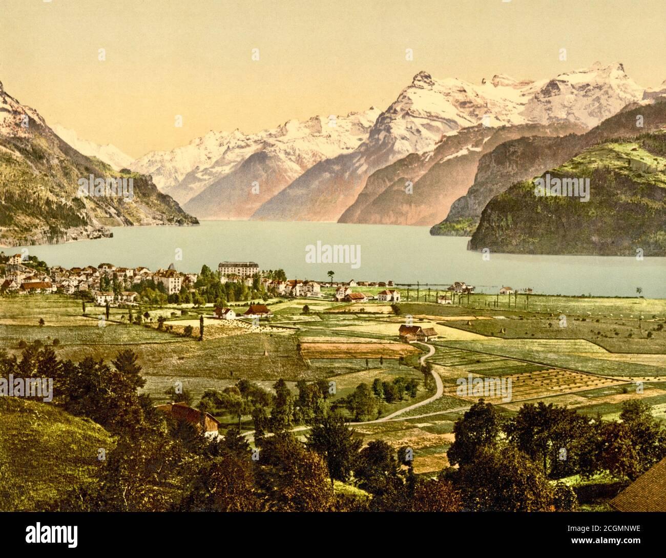 Lake Lucerne and the Alps, Brunnen, Schwyz, Switzerland 1890. Stock Photo