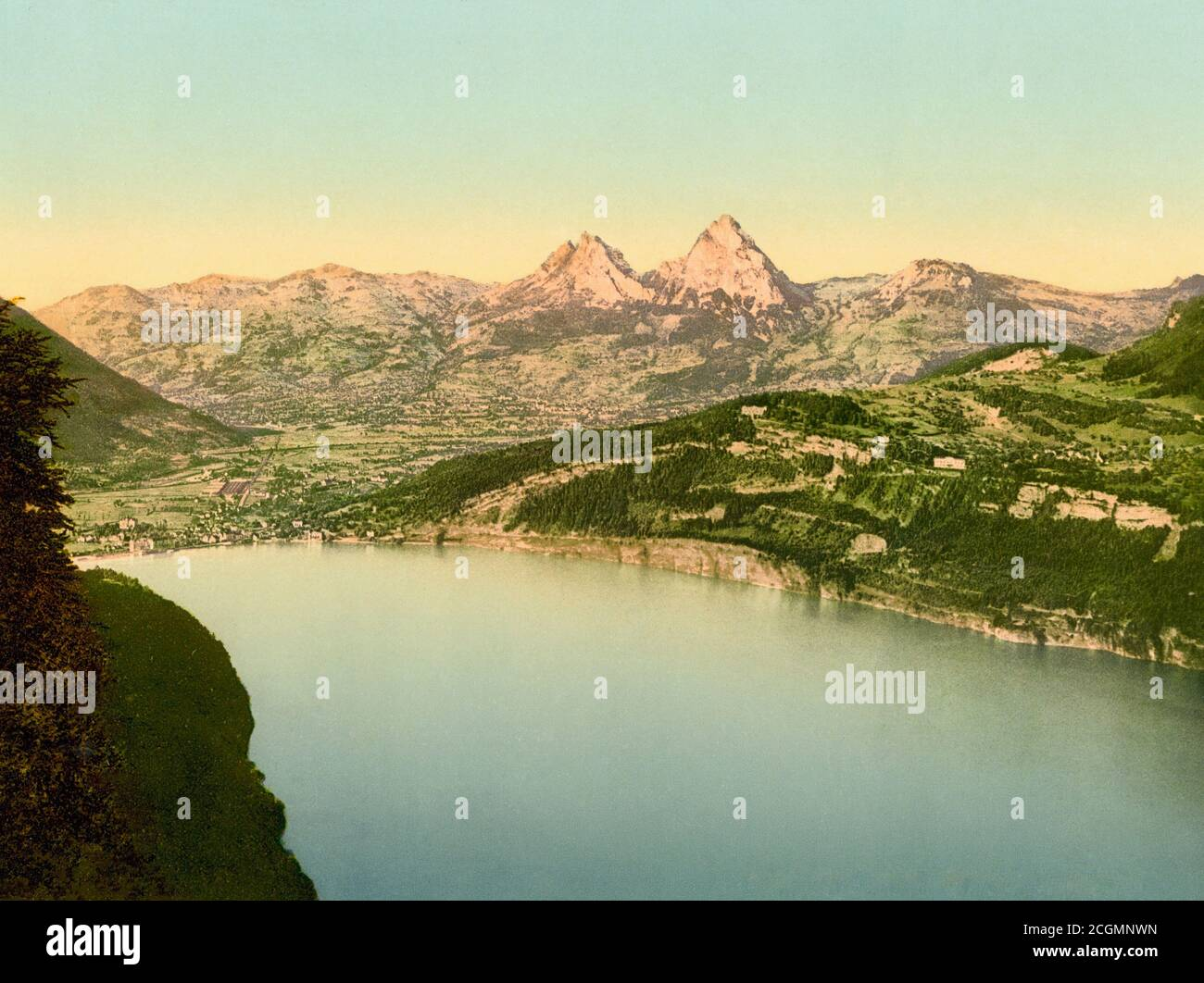 Lake Lucerne, Brunnen and  Axenstein, Schwyz, Switzerland 1890. Stock Photo