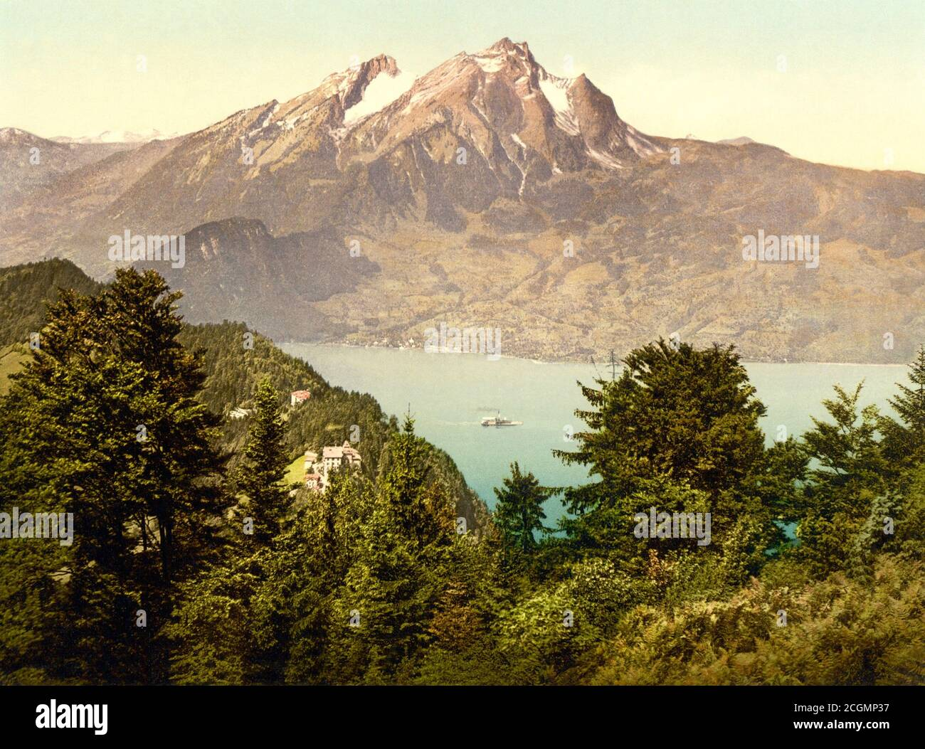 Bürgenstock and Pilatus, Lake Lucerne, Switzerland 1890. Stock Photo