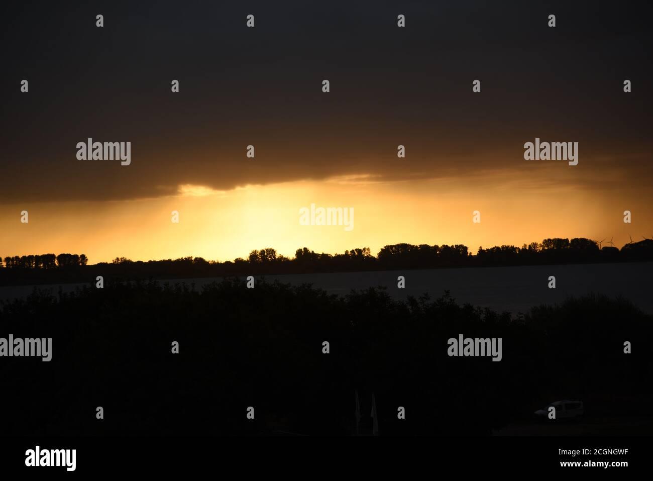 Beautiful weather-atmosphere in Krautsand Stock Photo