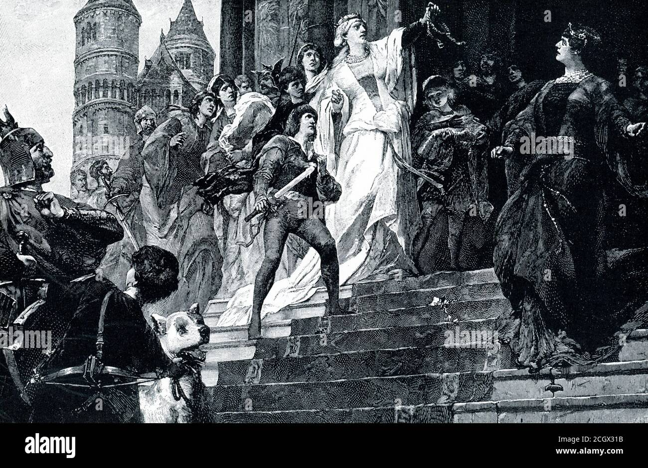 Quarrel of Brunhild and Kriemhild. This scene is from the Nibelung legend of Siegfried. The rival queens met in procession before the door of the great Worms cathedral, and each asserted her right to enter first. Brunhild was of superhuman strength and famed as a warrior. Kriemhild boasted of the victory her husband Siegfried had won over the mighty queen, and displayed the ring and girdle which he had torn from her. From this quarrel arose all the strife and disaster of the legend — Siegfried's death and the massacre of the Burgundians. Stock Photo