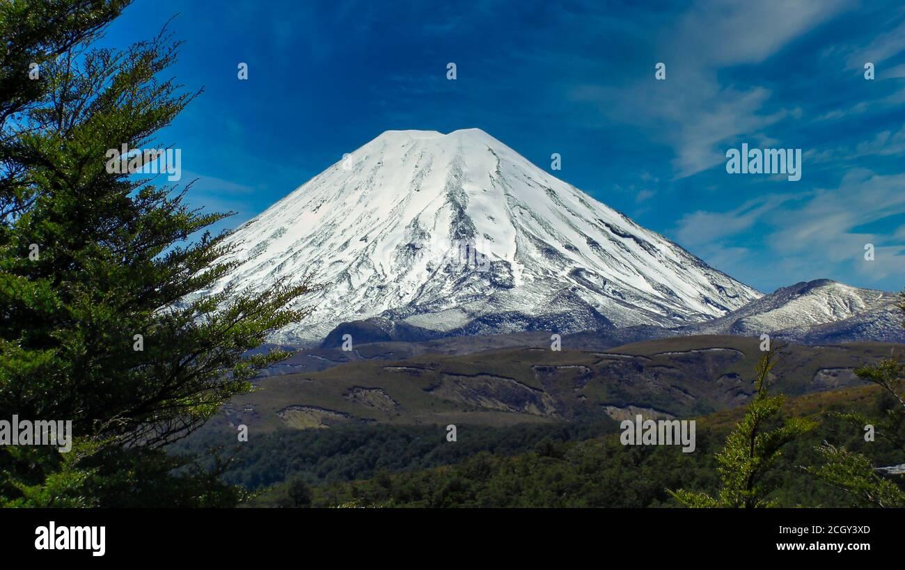 The Mount Ngauruhoe from Desert Road Stock Photo