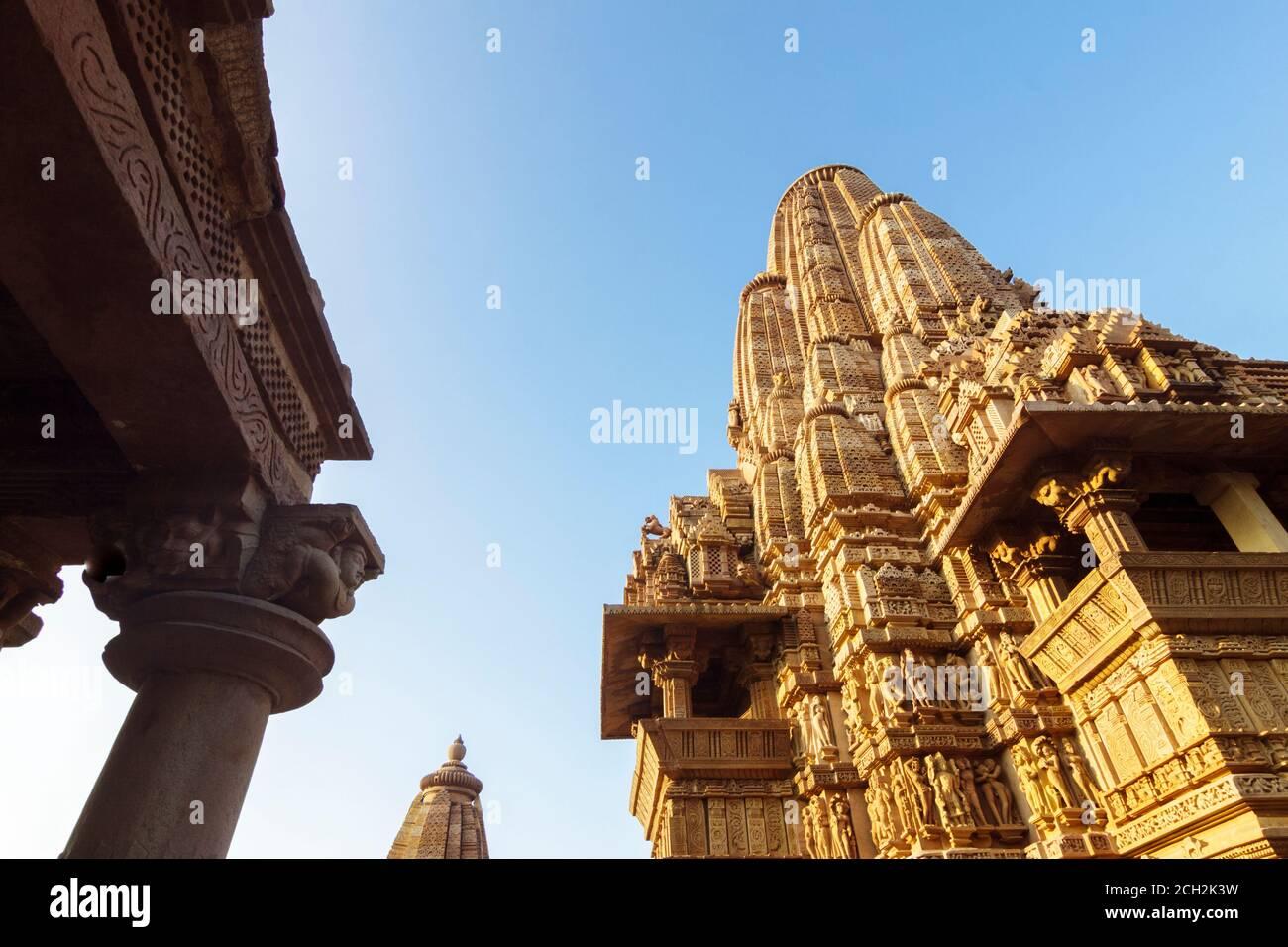 Khajuraho, Madhya Pradesh, India : Low angle of the main tower of the Kandariya Mahadeva Temple part of the western group of the UNESCO World Heritage Stock Photo