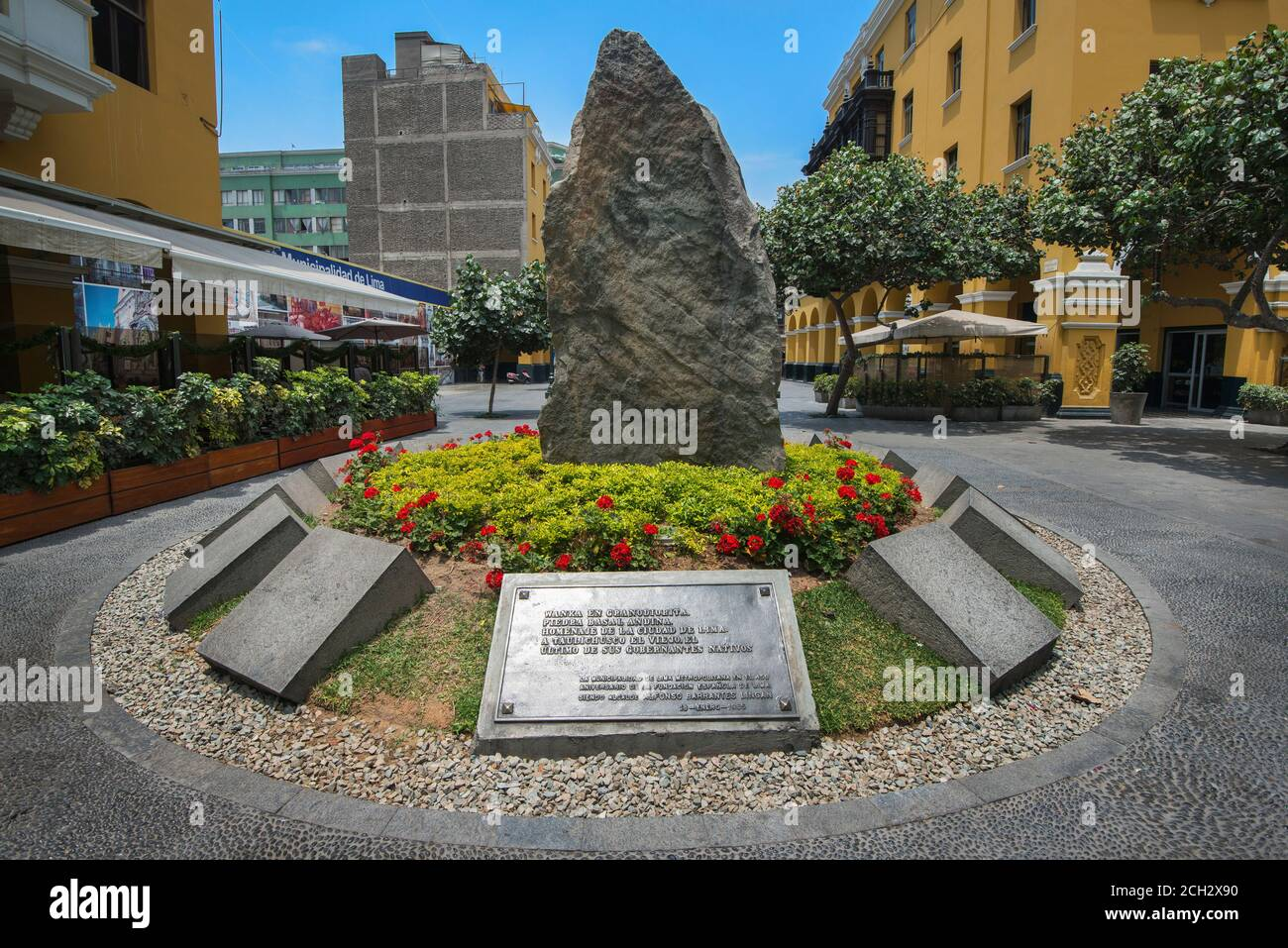 Monument to Taulichusco (the last of its native rulers) is a monolith of Andean basal stone in Lima, Peru Stock Photo