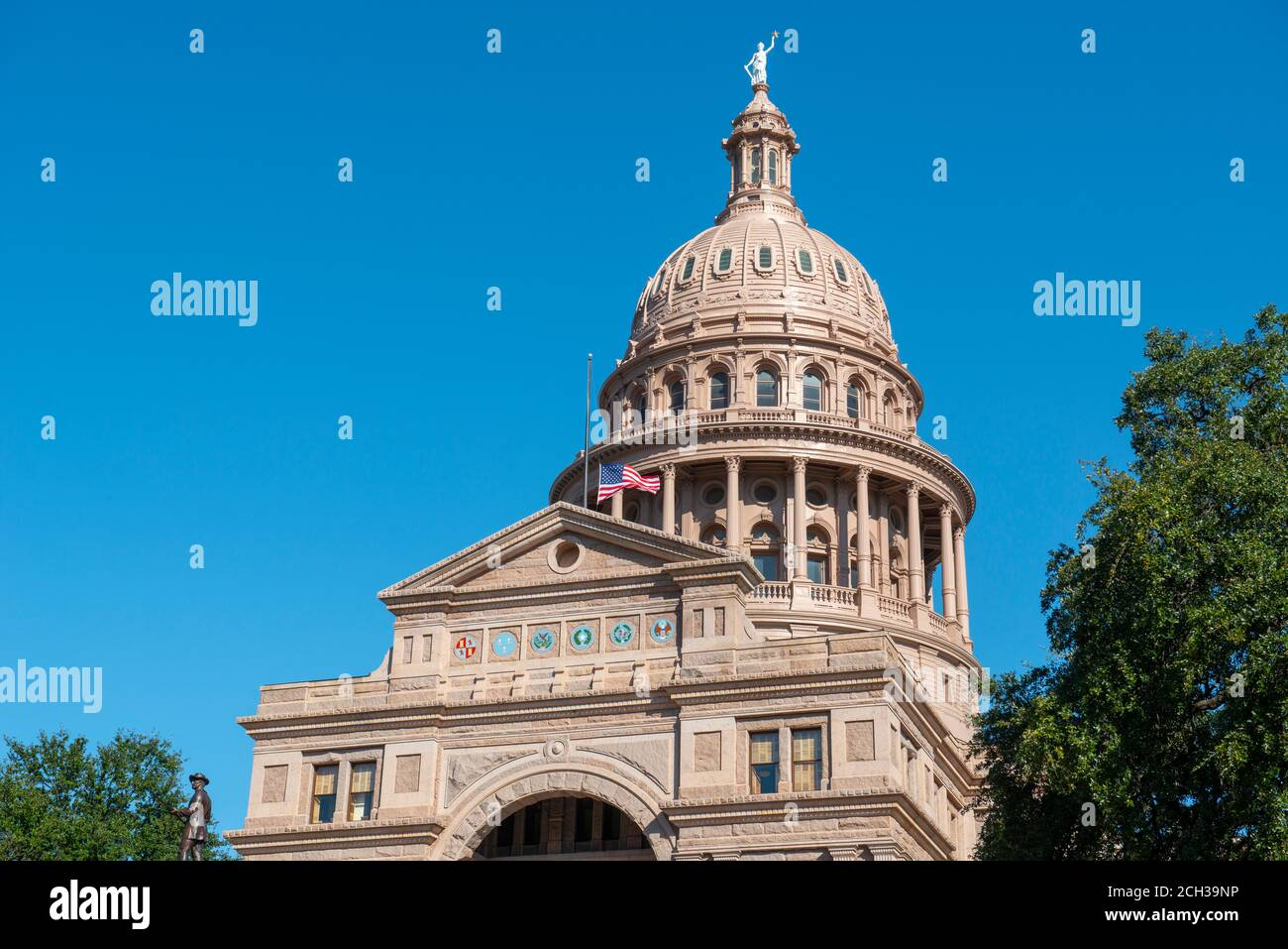Texas State Capitol is the capitol building and seat of government of Texas in downtown Austin, Texas TX, USA. Stock Photo