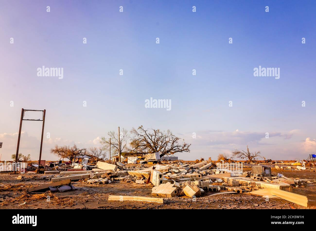 Debris from Hurricane Laura litters the streets, Sept. 11, 2020, in Cameron, Louisiana. The town sustained heavy damage in the Category 4 hurricane. Stock Photo