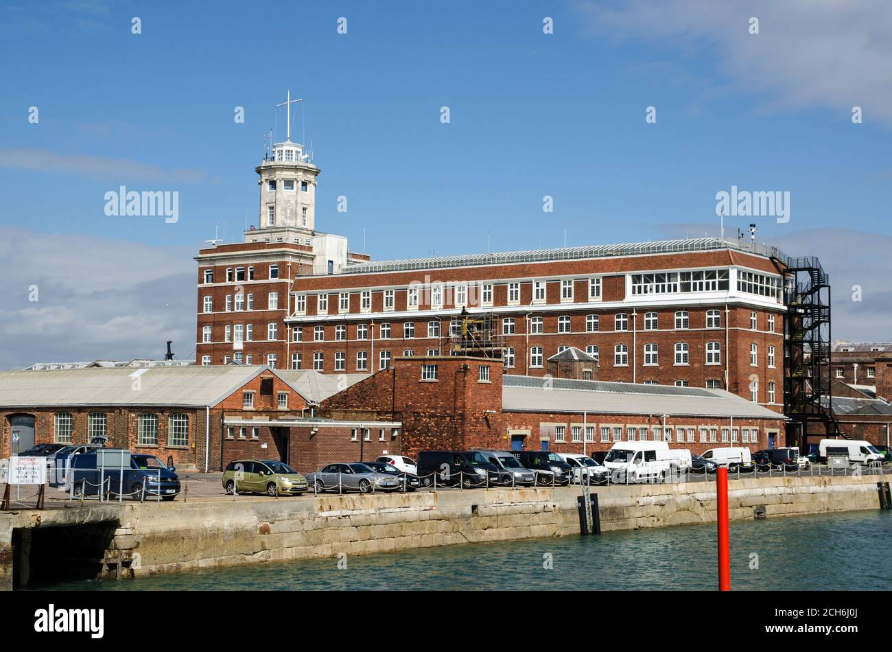 Portsmouth, UK - September 8, 2020: View from the sea looking towards the landmark Semaphore Towr on Portsmouth Harbour on a sunny summer morning.  Th Stock Photo