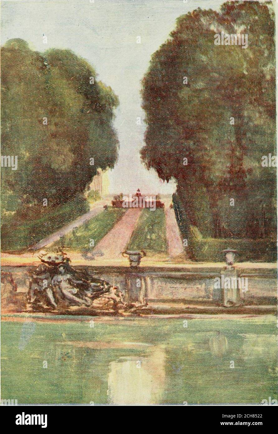 . Paris and its story, by T. Okey; illustrated by Katherine Kimball & O. F. M. Ward . NOTRE DAME, SOUTH SIDE. Chanoinesse, and at No. 9 Quai aux Fleurs an inscriptionmarks the site of the house of Heloise and Abelard. TheRue and Pont dArcole have cleared away the old church ofSt. Landry and the port of that name, where up to thereign of Louis XIII. a market was held, at which foundlingchildren from the hospital on the Parvis could be boughtfor thirty sous. The scandal was abolished by the efforts. Versailles—Bassin de NeptUxNE. THE CITE 283 of the gentle St. Vincent de Paul, Anne of Austriasco Stock Photo