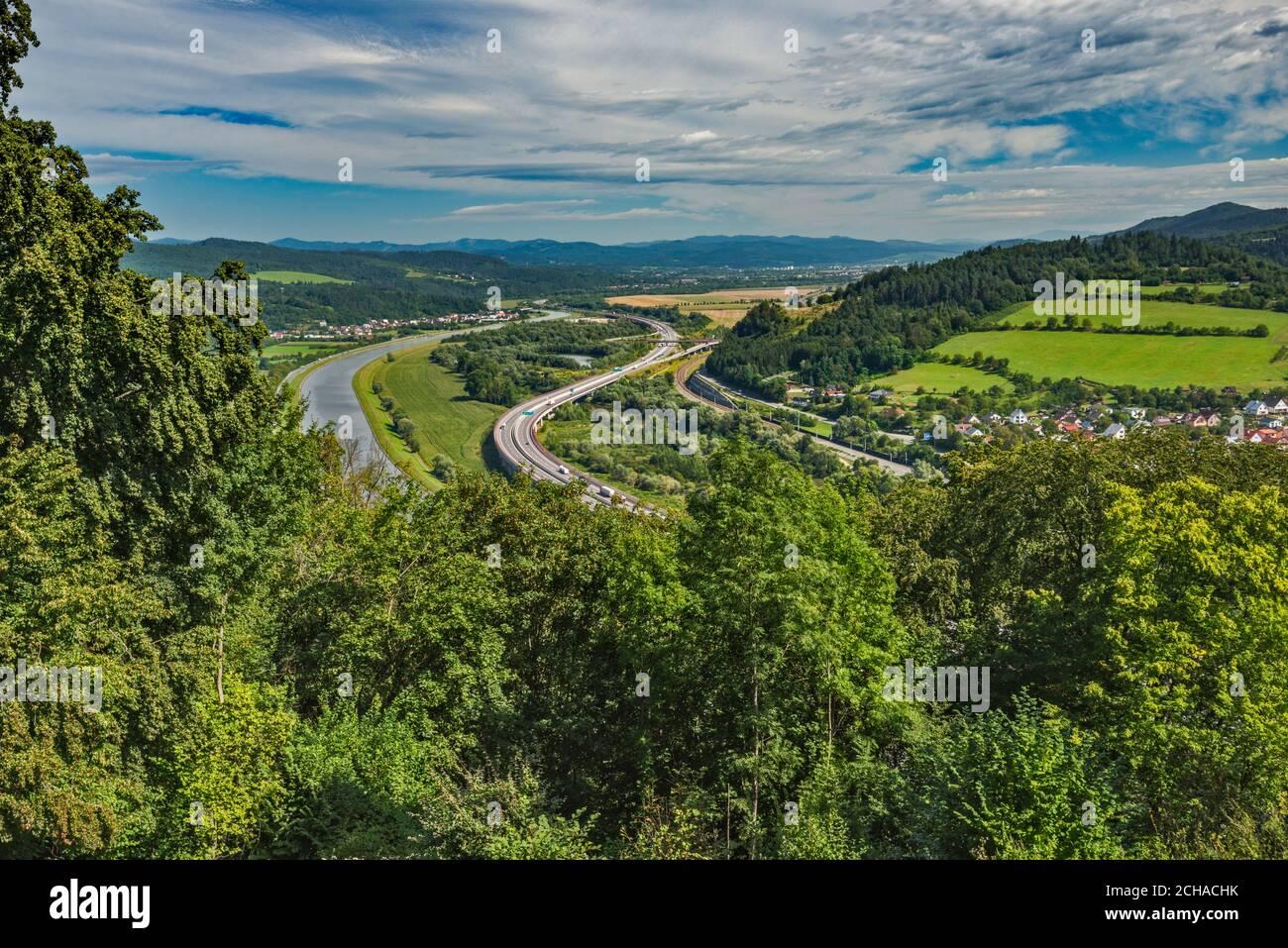 View of river Vah valley from Považský hrad (Hrad Bystrica), medieval castle over village of Považská Bystrica, Trencin Region, Slovakia Stock Photo