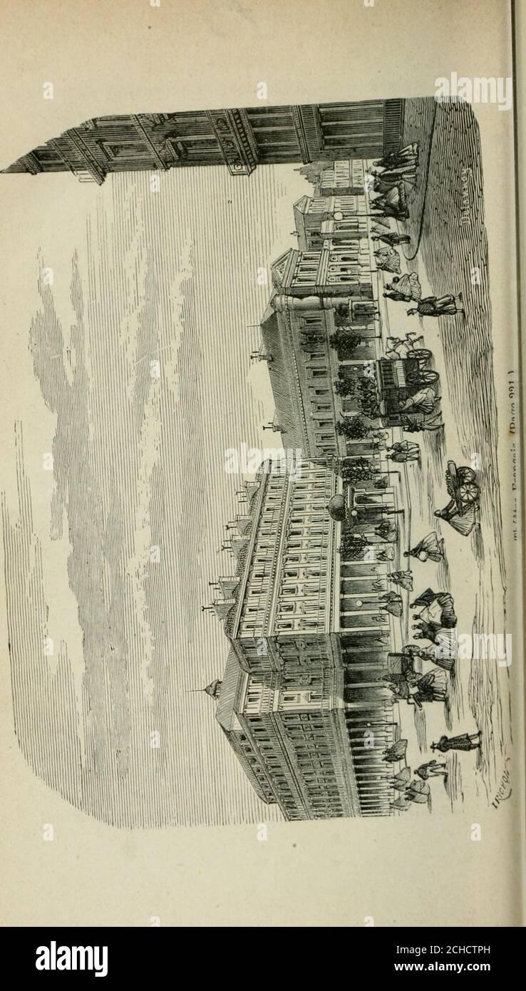 . Les merveilles du nouveau Paris-- . essins de Bougevin et Guerchy, fut appelé Jethéâtre de Madame, à cause de la duchesse de Berry ; au-jourdhui, bien que le Gymnase soit sous le patronage de SaMajesté lImpératrice, on lui conserve son nom populaire.M. Scribe fit représenter la plupart de ses vaudevilles auGymnase, et lon peut dire que cette salle fut le berceau duvaudeville sérieux, pour devenir plus tard celui de la co-médie de mœurs. Ses premiers succès : le Secrétaire et leCuisinier, les Deux précepteurs, Michel et Christine, la Mar-raine, etc.; un nombre infini de petites pièces amenère Stock Photo