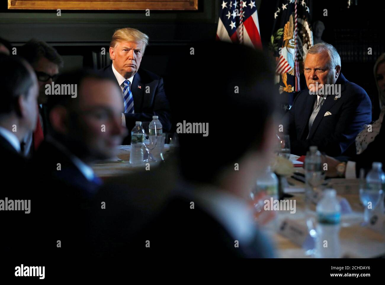 U.S. President Donald Trump and Governor Nathan Deal (R-GA) of Georgia participate in a roundtable discussion with state leaders on prison reform in Berkeley Heights, New Jersey, U.S., August 9, 2018.  REUTERS/Carlos Barria Stock Photo