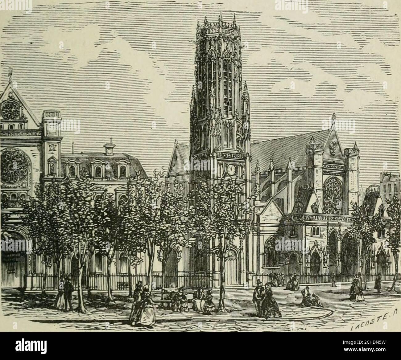 . Les merveilles du nouveau Paris-- . SAINT-GERMAIN LAUXERROIS. 199 peints sur place ; toutes les parois sont couvertes de pein-tures, de dorures ou de sculptures. Léglise Saint-Germain lAuxerrois, place Saint-GermainlAuxerrois, en face la colonnade du Louvre, désignéedabord sous le nom de Saint-Germain le Rond, à cause desa forme, fut achevée, selon toute apparence, par Chil-. Tour Saint-Germaiu lAuxerrois. péric Ier et détruite par les Normands, lorsquils quittèrentles bords de la Seine. Le roi Robert le Pieux la rebâtit,mais lédifice actuel est de beaucoup postérieur. (V. p. 201.)Saint-Germ Stock Photo