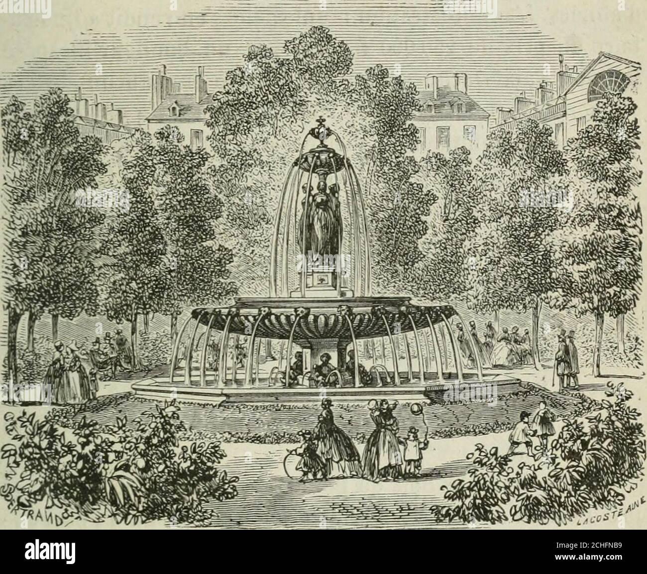 . Les merveilles du nouveau Paris-- . levard Malesherbes, il fut considérable-ment amoindri, mais ce qui en est resté a été embelli avecbeaucoup de goût. Les nombreuses pièces deau et lesarbres magnifiques qui ornent ce parc en font une prome-nade du plus grand attrait. (V. page 73.) La plupart des squares de Paris sont fort jolis et peuventêtre considérés comme un véritable bienfait pour les ha-bitations environnantes. Les principaux sont ceux de la place Louvois; des Inno-cents, établi sur lemplacement de lancien marché des Inno-cents, et dont la fontaine, attribuée à Jean Goujon, formele pl Stock Photo
