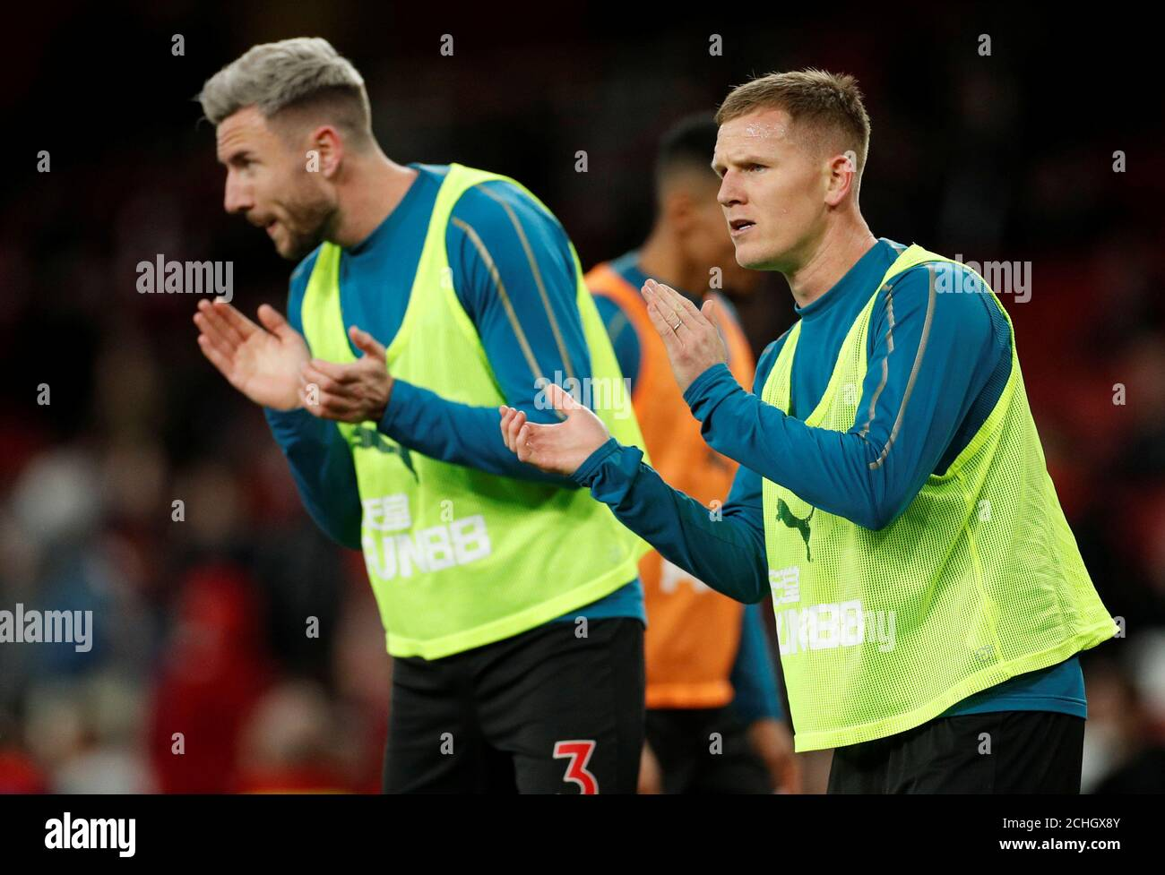Soccer Football Premier League Arsenal V Newcastle United Emirates Stadium London Britain April 1 2019 Newcastle United S Matt Ritchie And Paul Dummett During The Warm Up Action Images