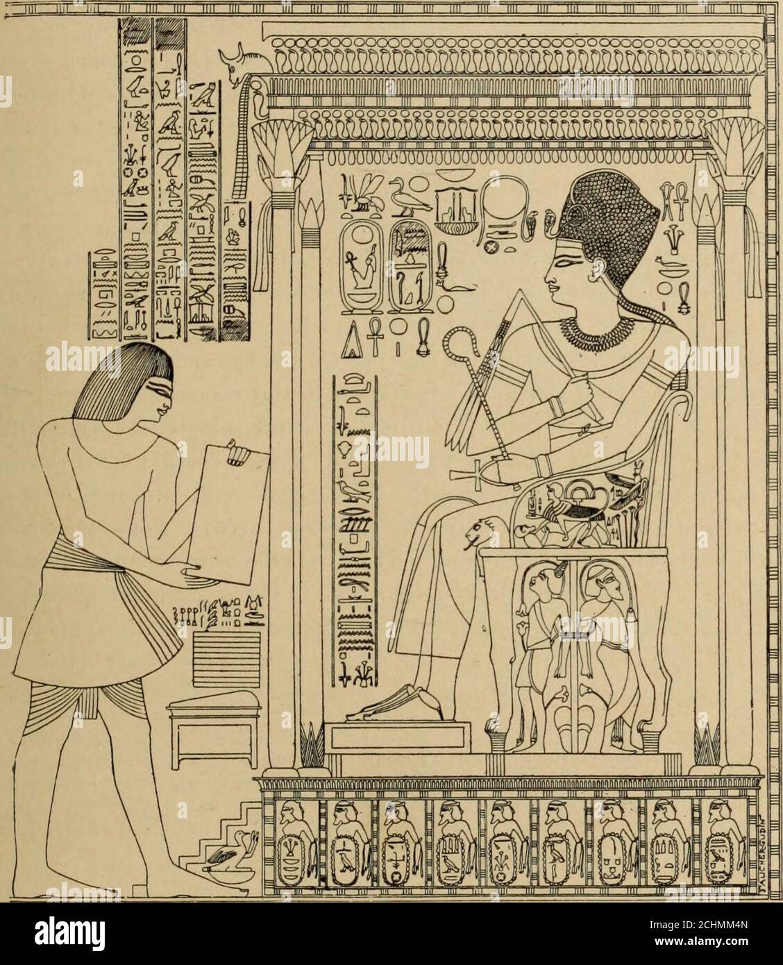 . The dawn of civilization: Egypt and Chaldaea . clown to us, is mentioned by Ûni ;this is Queen Amîtsi, wife of Mirirî-Papi I. of the VIth dynasty (E. de Rouge, Becherches sur lesmonuments, p. 121; cf. Erman, Commentar zur Inschrift des Una, in the Zeitschrift, 1881, pp. 10, 11). 5 It would seem that Queen Mirisônkhû (Mariette, Les Mastabas, p. 183 ; Lepsius, Denhm., ii.14, 26), wife of Khephren, was the daughter of Kheops, and consequently her husbands sister (E. deRouge, Becherches sur les monuments quon peut attribuer aux six premières dynasties de Manéthon,pp. 61, 62). 6 The preamble of t Stock Photo