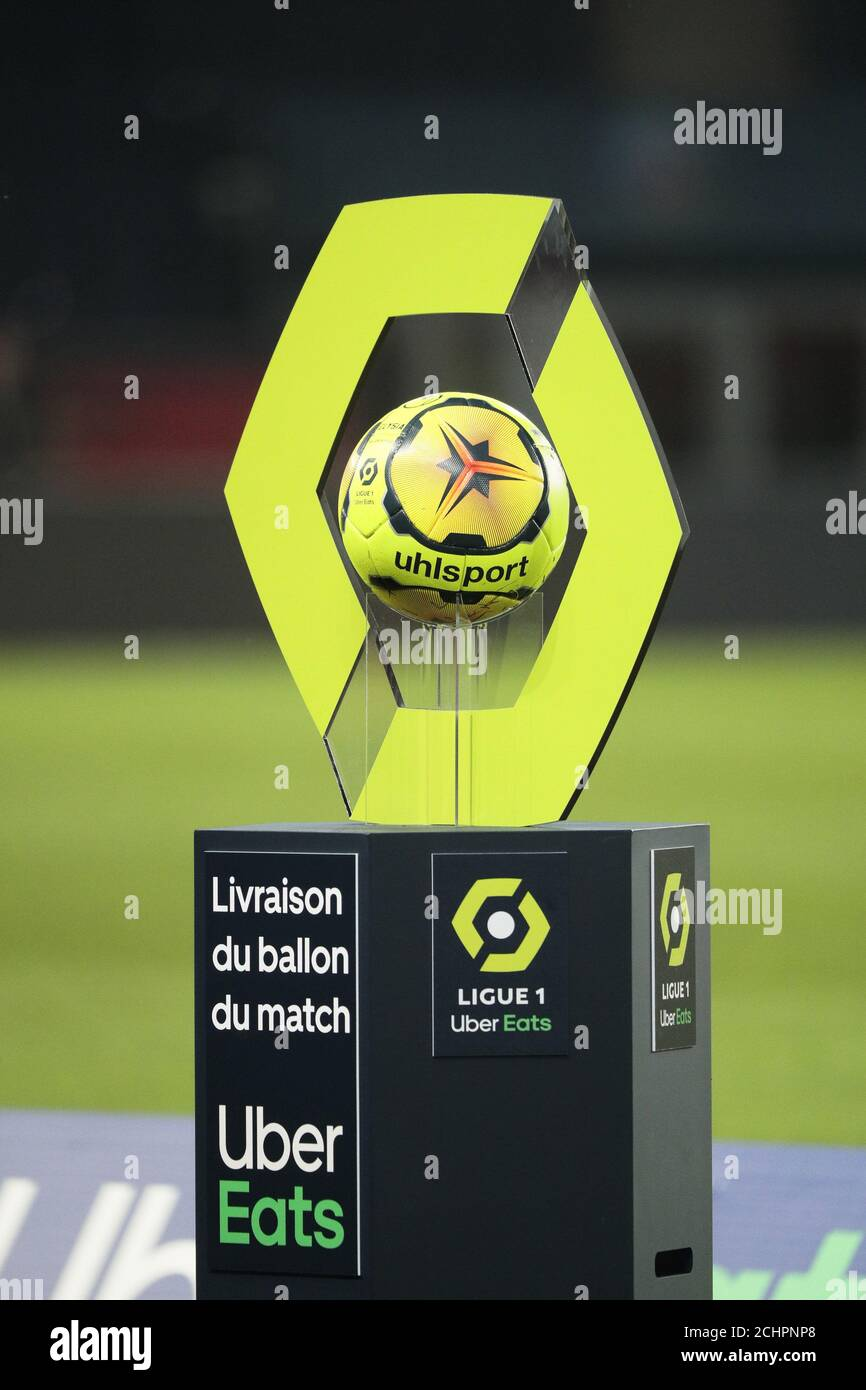 Illustration Of The Official Ball Ligue 1 Uber Eats Elysia By Uhlsport Saison 2020 2021during The French Championship Ligue 1 Football Match Uber Ea Stock Photo Alamy