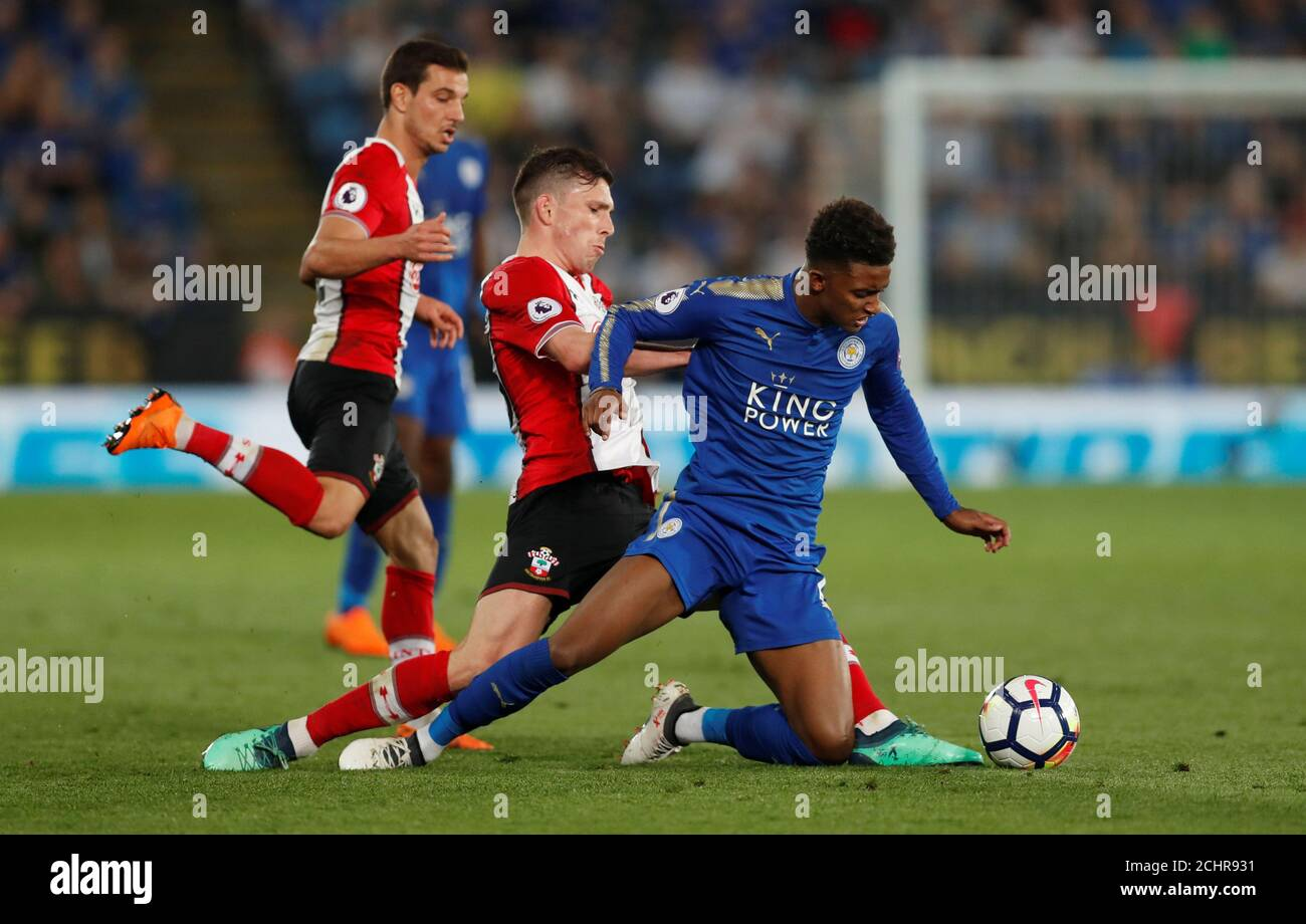 Soccer Football Premier League Leicester City Vs Southampton King Power Stadium Leicester Britain April 19 2018 Southampton S Pierre Emile Hojbjerg In Action With Leicester City S Demarai Gray Action Images