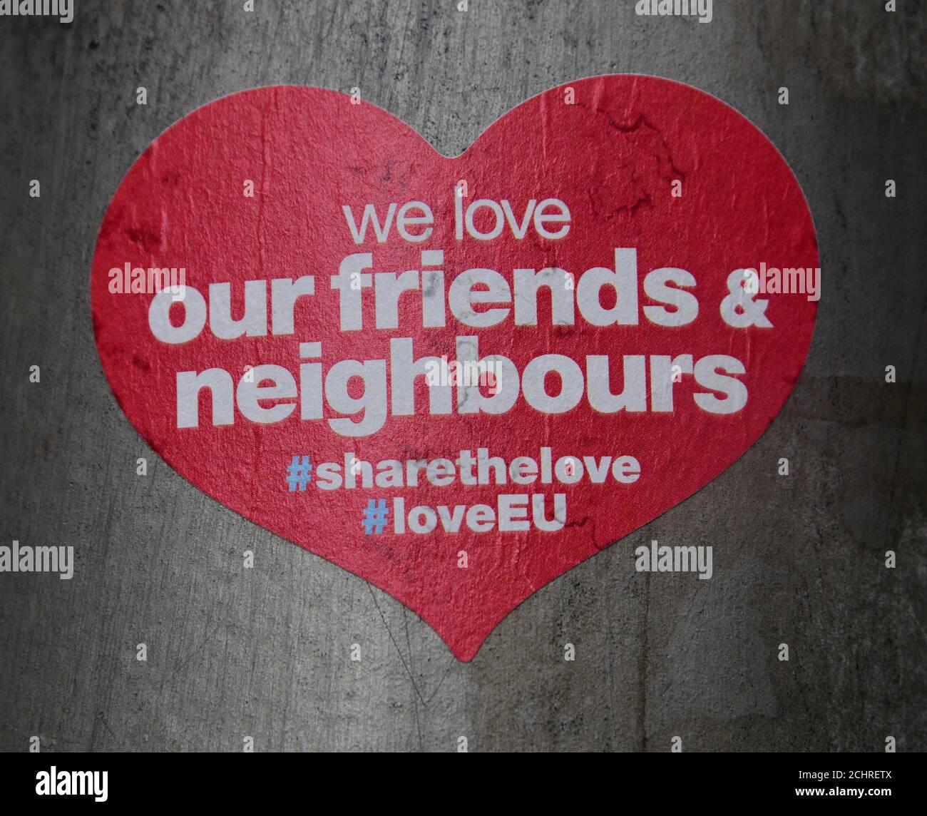 Anti Brexit stickers Stock Photo