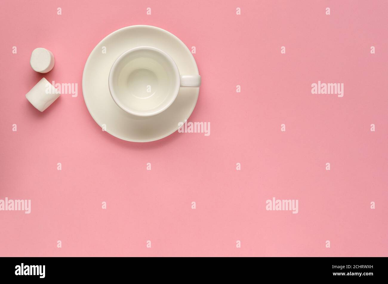 Clean Empty White Coffee Cup With Saucer And Two Marshmallows On Pink Background Minimal Template For Feminine Blog Social Media Networks Stock Photo Alamy