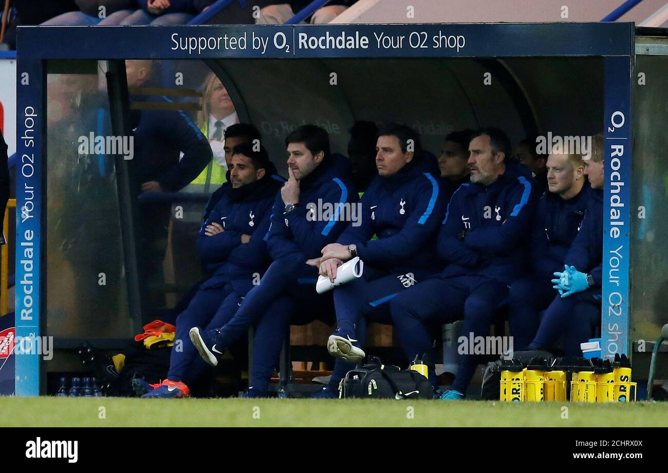 Soccer Football Fa Cup Fifth Round Rochdale Vs Tottenham Hotspur The Crown Oil Arena Rochdale Britain February 18 2018 Tottenham Manager Mauricio Pochettino And Backroom Staff Reuters Andrew Yates Stock Photo Alamy
