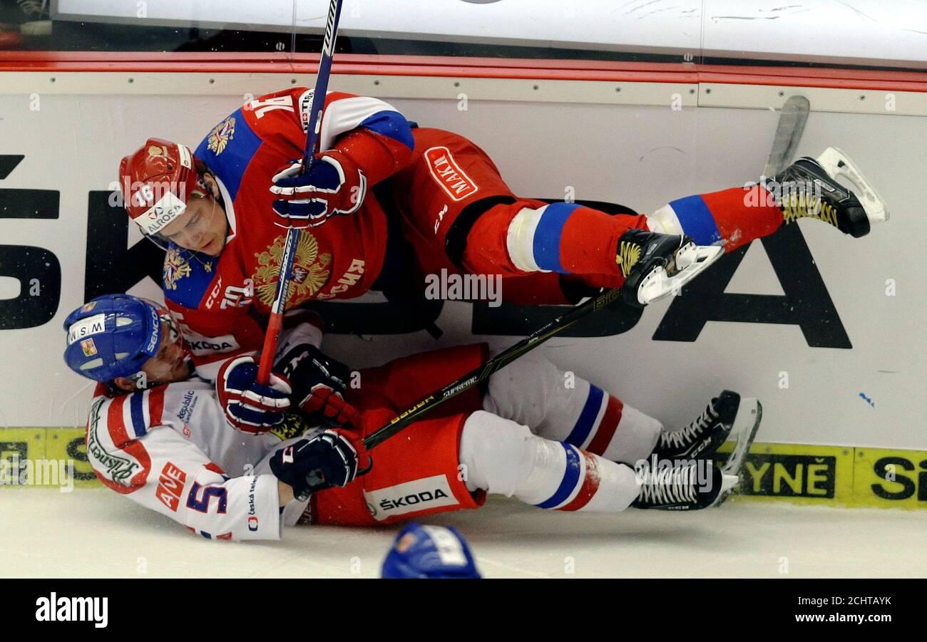 Ice Hockey - Russia v Czech Republic - Euro Hockey Tour - Ceske Budejovice, Czech Republic - 30/04/17 - Sergej Plotnikov of Russia in action with Jakub Jerabek of Czech Republic.  REUTERS/David W Cerny Stock Photo