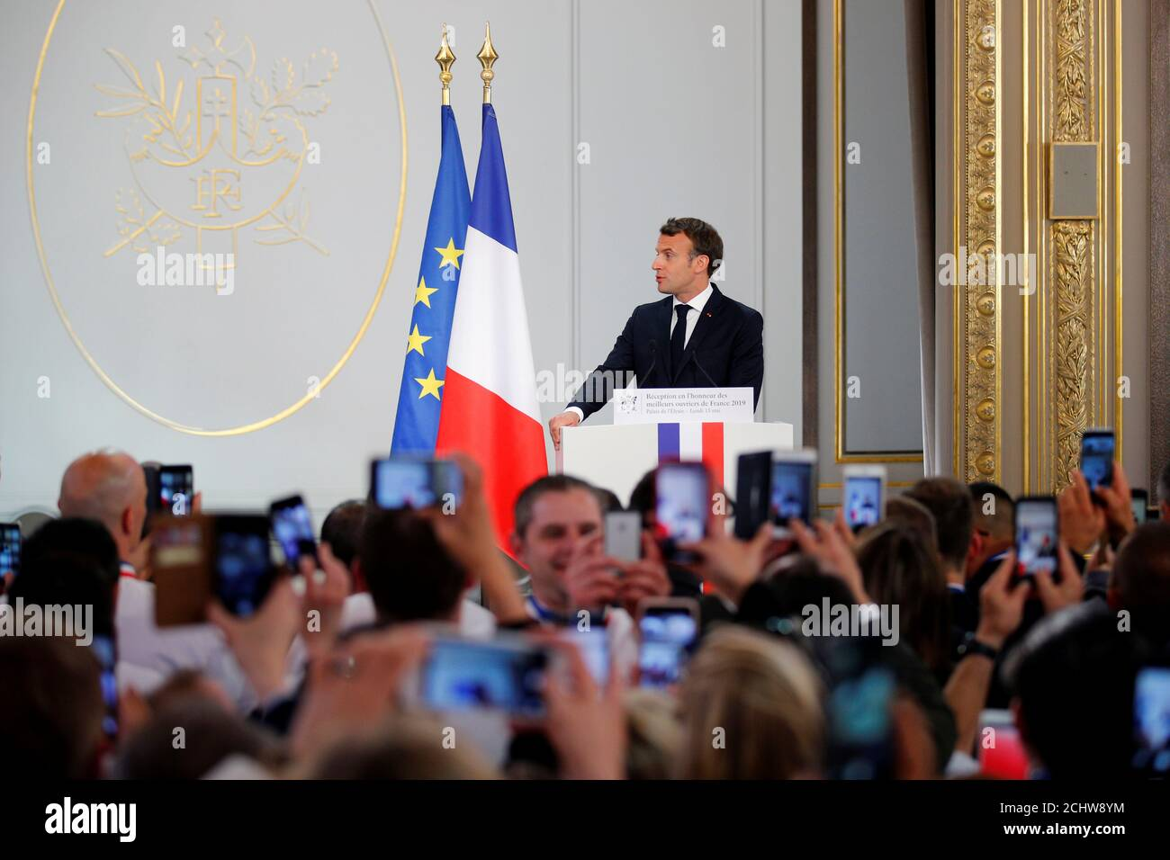 French President Emmanuel Macron Delivers A Speech At A Ceremony For The Prize Of Meilleur Ouvrier