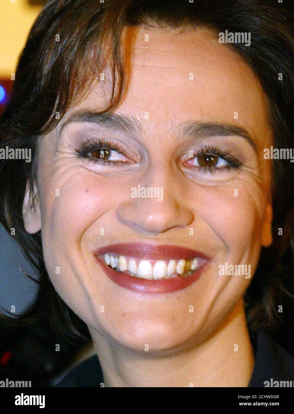 Sandra Maischberger, German television presenter from the NTV broadcasting station looks on during a reception in Berlin January 20, 2003. Maischberger attended a celebration for the 65th birthday of Paul Spiegel, president of the German Jew Council. REUTERS/Fabrizio Bensch  FAB/GB Stock Photo
