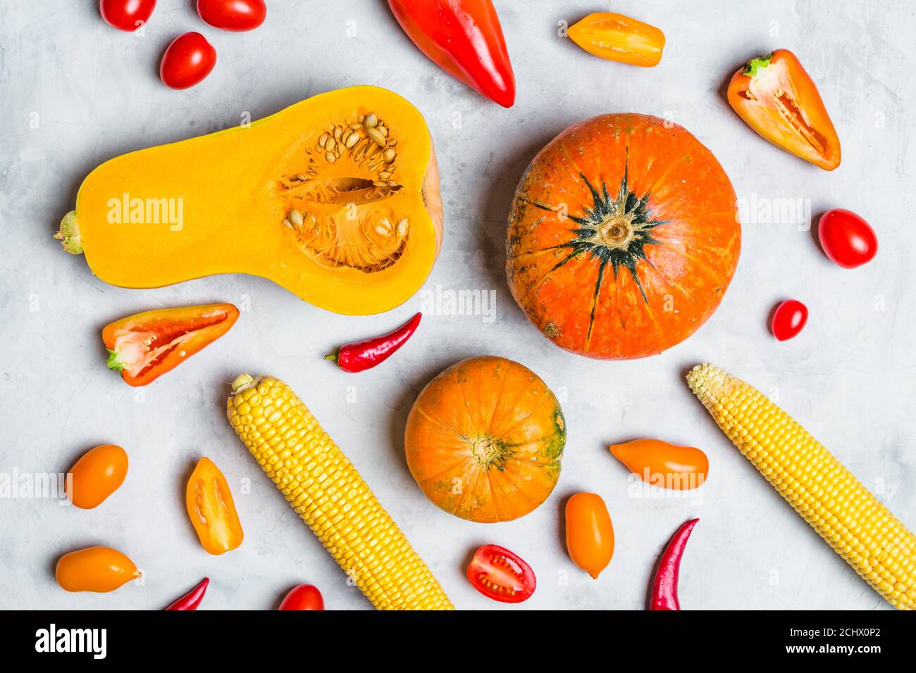 Assorted Fresh Yellow and Orange Vegetables. Background Food Stock Photo