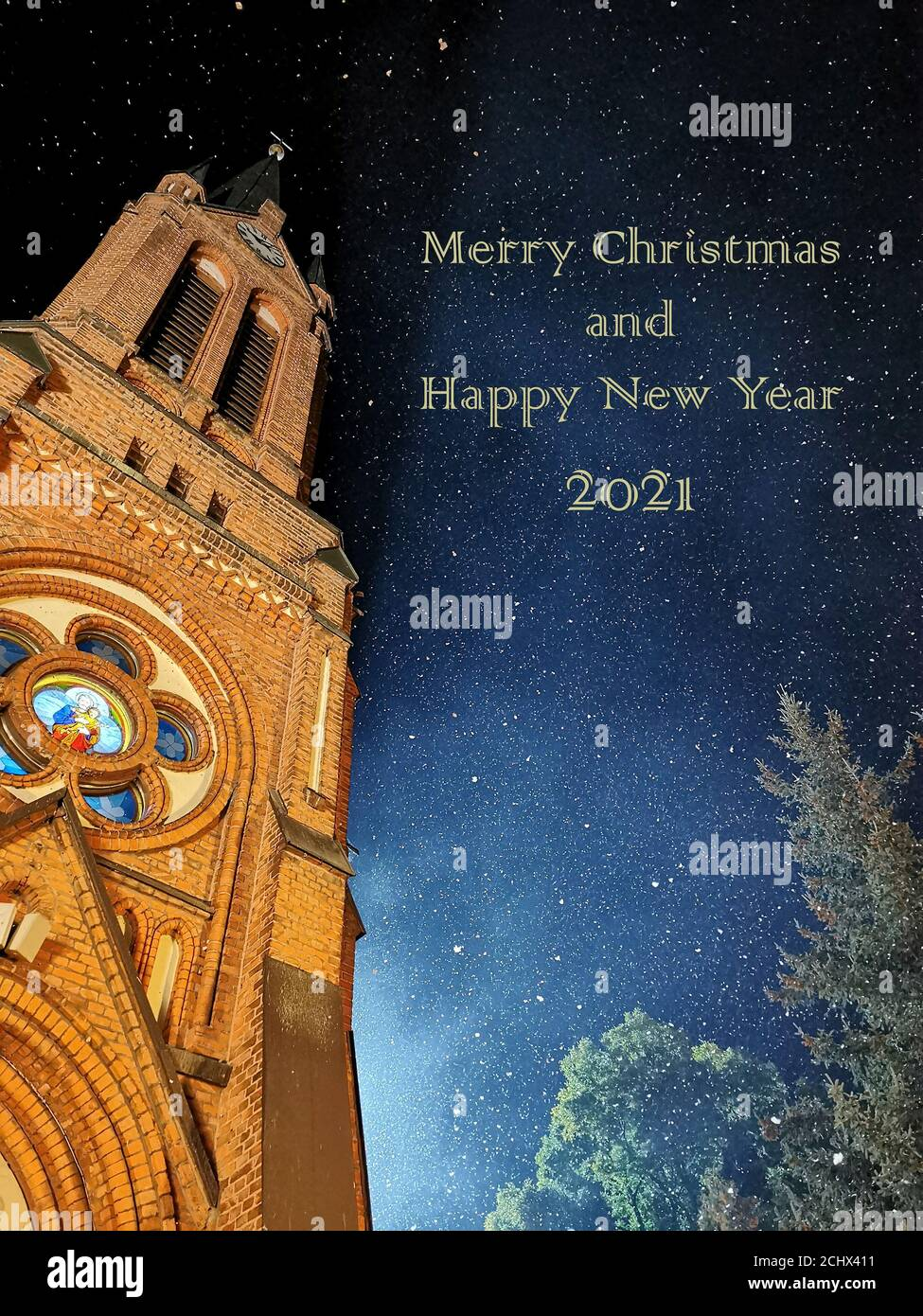 Christmas In New Hampshire 2021 Merry Christmas And Happy New Year 2021 Night Sky In Winter And A Piece Of The Church Visible Stock Photo Alamy