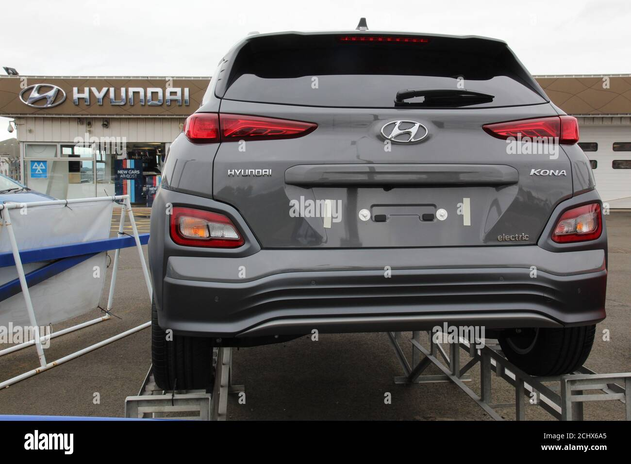 Brand New Unsold Hyundai Electric Car On Display Outside Car Dealership Stock Photo Alamy
