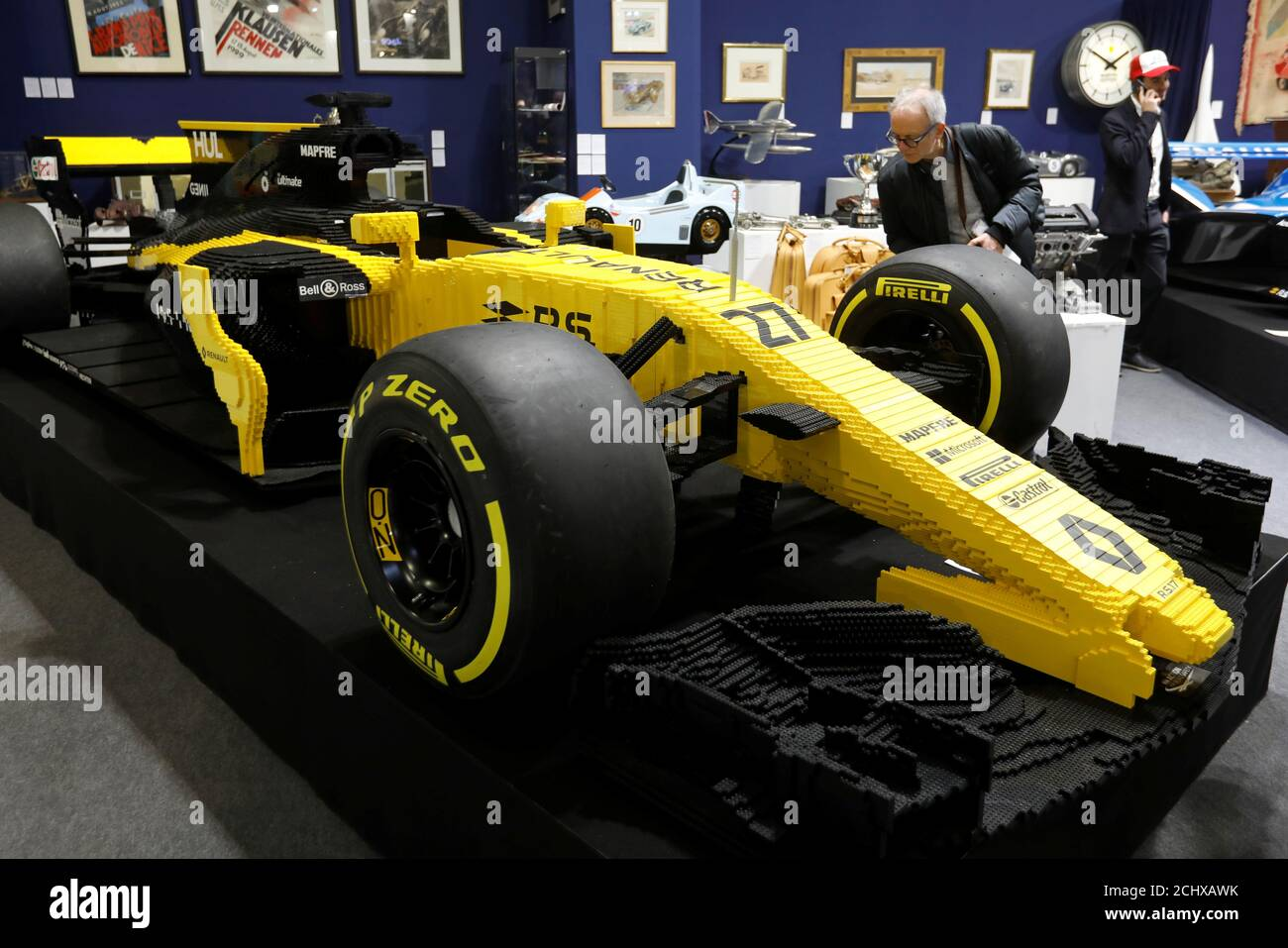 A full-scale sculpture of a 2017 Formula one Renault built with 313 000 LEGO bricks is displayed before to be up for sale by auction house Artcurial during the Retromobile car show in Paris, France, February 6, 2019.  REUTERS/Charles Platiau Stock Photo