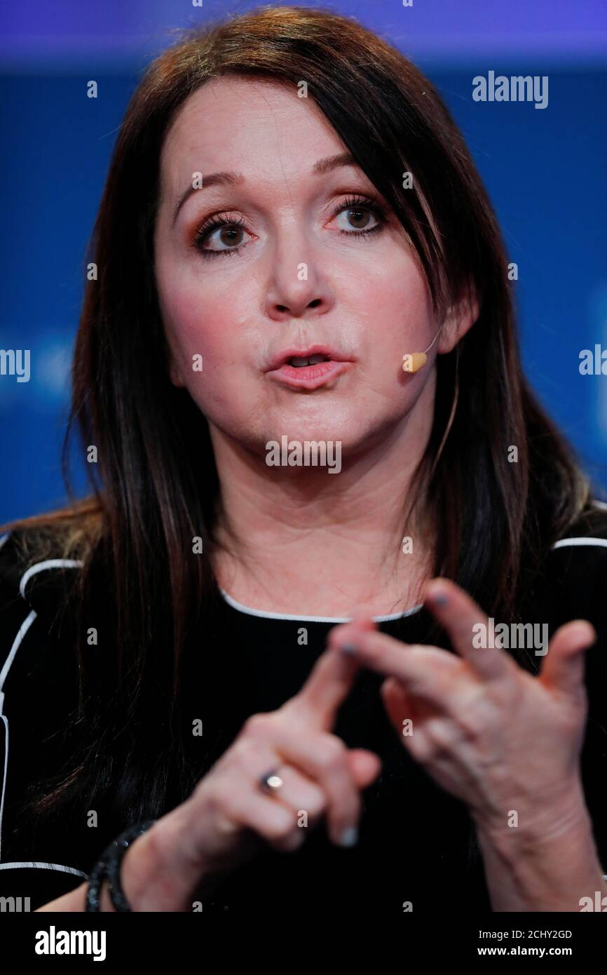 Marcie Frost, CEO of CalPERS, speaks during the Milken Institute's 22nd annual Global Conference in Beverly Hills, California, U.S., April 29, 2019.  REUTERS/Mike Blake Stock Photo