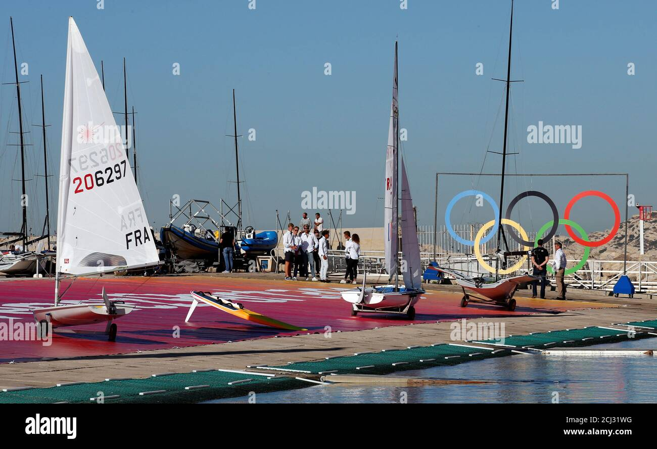 Athletes prepare to sail at the site of the future Olympic Sailing ...