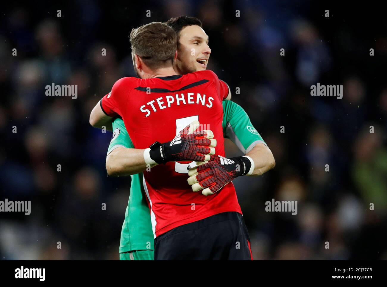 Soccer Football Premier League Leicester City V Southampton King Power Stadium Leicester Britain January 12 2019 Southampton S Jack Stephens And Alex Mccarthy Celebrate At The End Of The