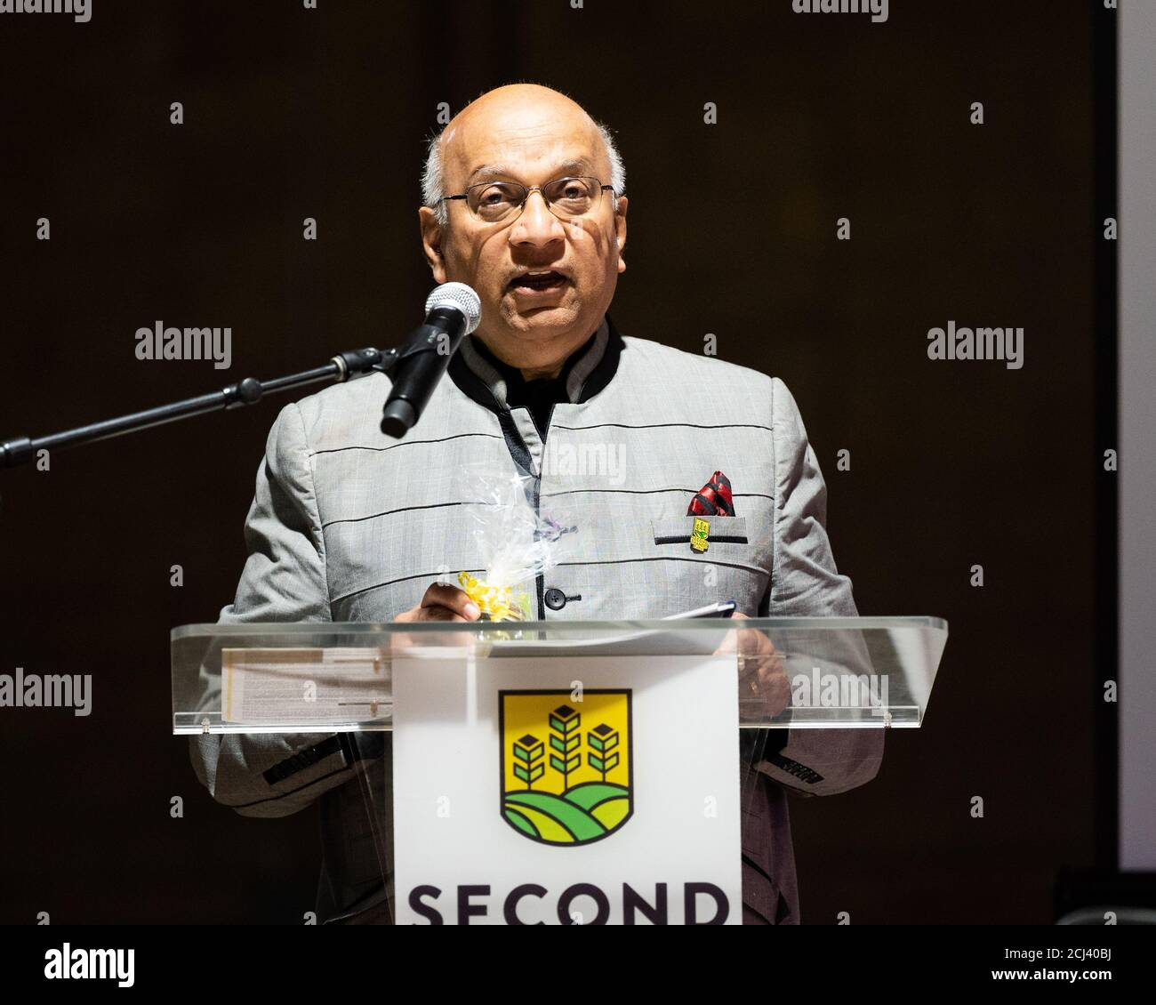 Wilmington, United States. 14th Sep, 2020. September 14, 2020 - Wilmington, DE, United States: Ajit George, Founder and Manager of Second Chances Farms, speaking at Second Chances Farms. (Photo by Michael Brochstein/Sipa USA) Credit: Sipa USA/Alamy Live News Stock Photo