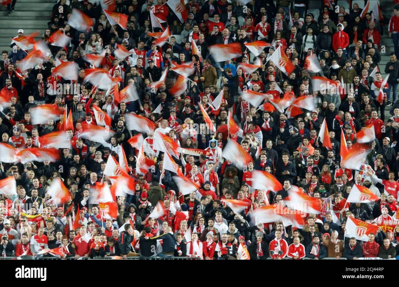 Soccer Football - Coupe de la Ligue Final - Paris St Germain vs AS Monaco - Matmut Atlantique Stadium, Bordeaux, France - March 31, 2018   AS Monaco fans before the match    REUTERS/Regis Duvignau Stock Photo