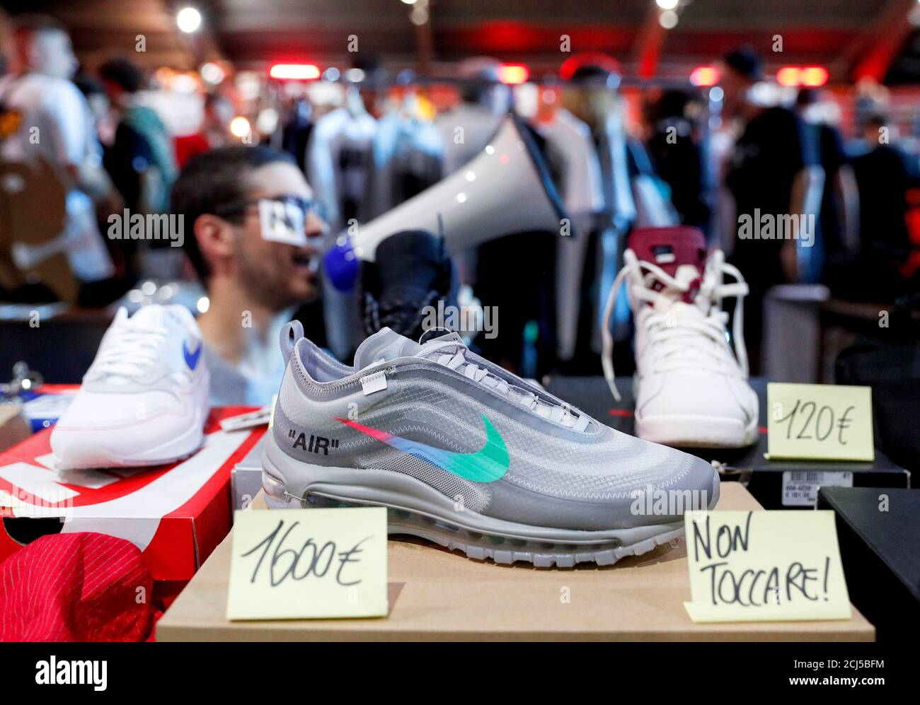 Nike Air Max 97 Off-White sneakers are seen at the KICKIT Sneaker ...