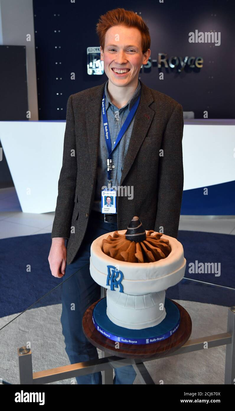 Aerospace Engineer And Bake Off Runner Up Aero Andrew Smyth Poses With A Cake He Baked For Britain S Prince William Before His Visit To The Rolls Royce Technology Centre In Derby November 30