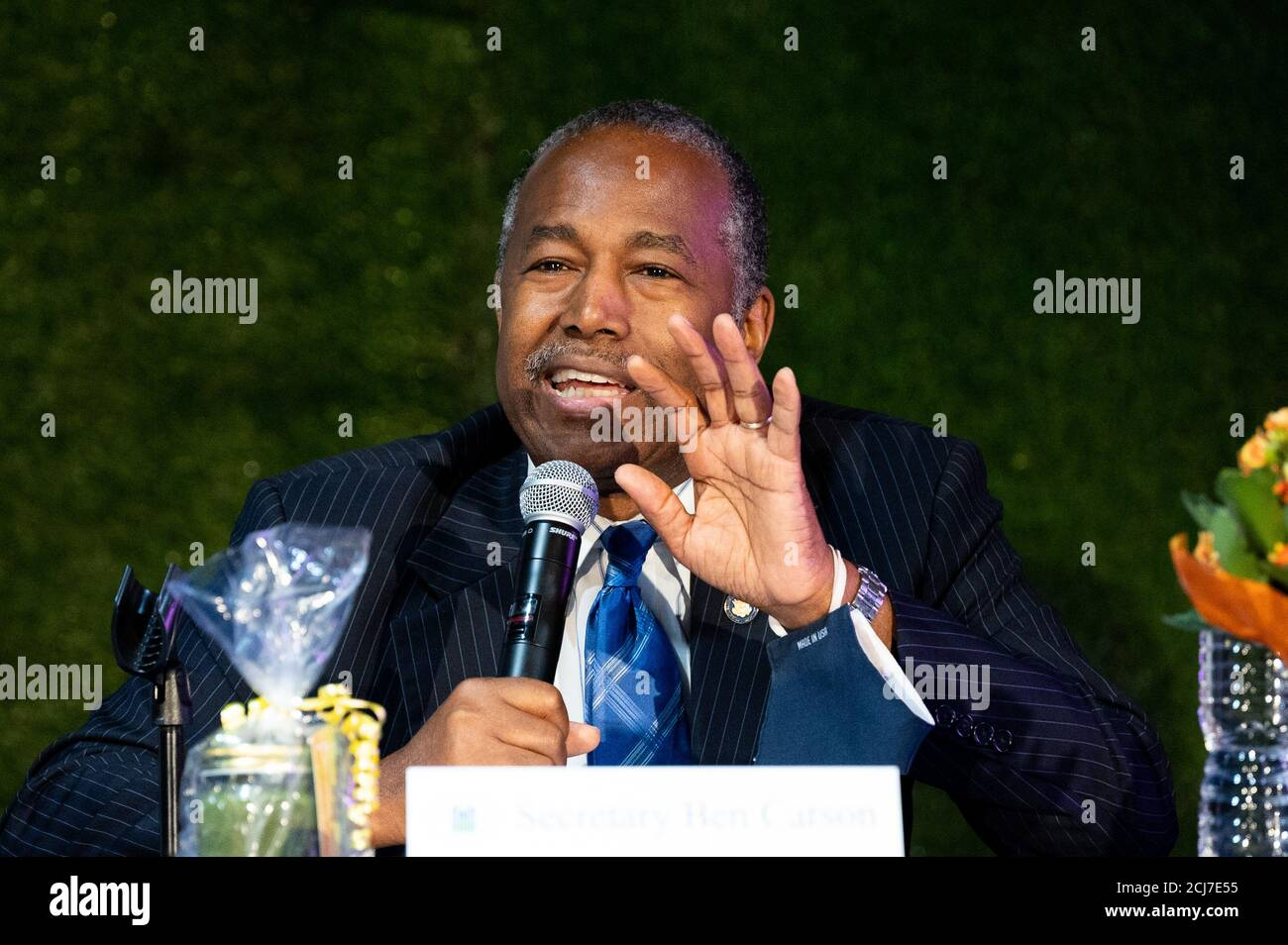 Wilmington, United States. 14th Sep, 2020. U.S. Housing and Urban Development (HUD) Secretary Ben Carson speaks after being given a tour around the plants growing in an indoor hydroponic chemical- and pesticide-free vertical farm at Second Chances Farms. Credit: SOPA Images Limited/Alamy Live News Stock Photo