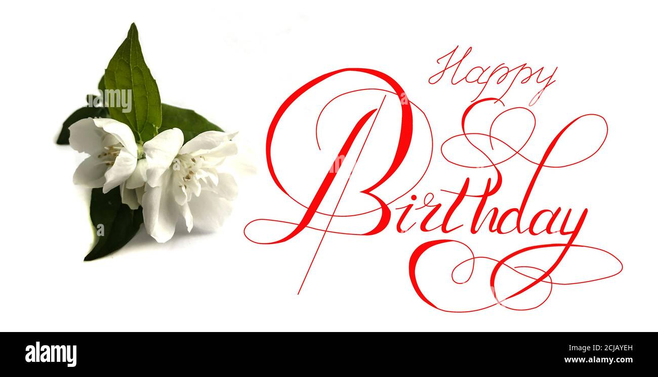 Postcard Or Internet Banner With A Birthday Greeting With The Inscription Happy Birthday Stock Photo Alamy