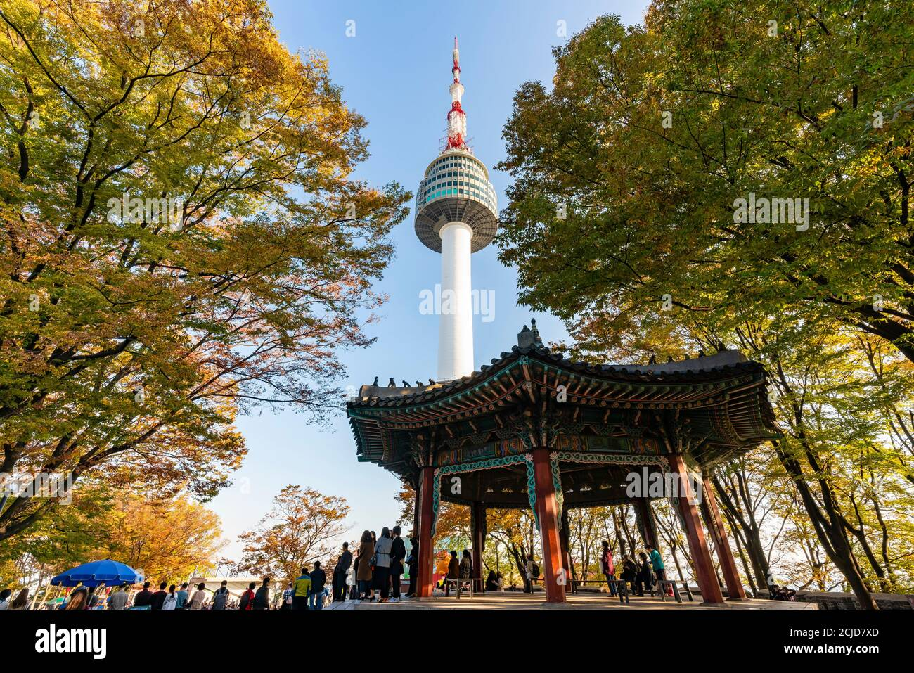 Tourist visiting Seoul Tower in South Korea Stock Photo