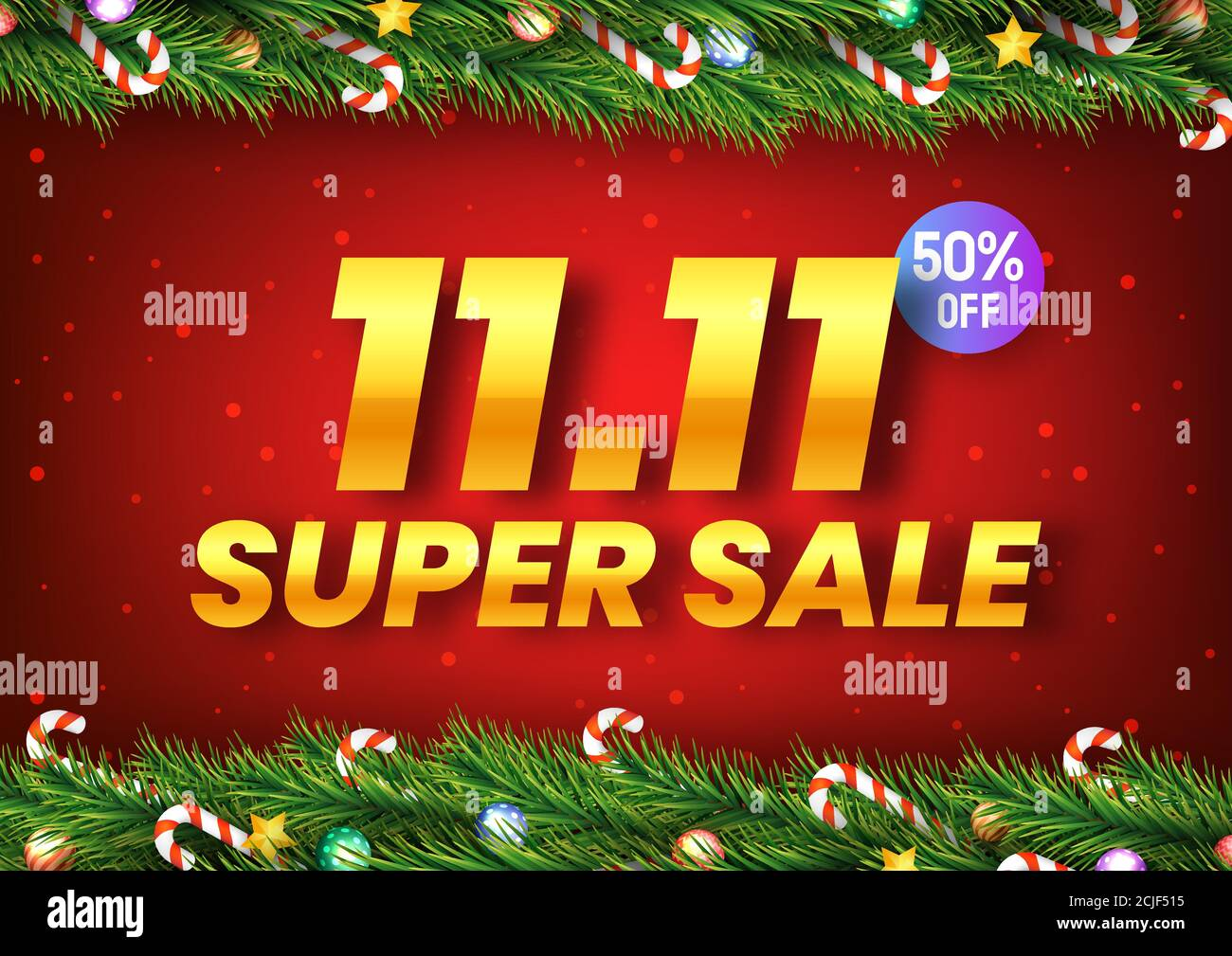 Golden November 11 Super Sale Shopping Day With Christmas Tree Branches Decorated With Stars Balls And Candy Canes On Red Background For Poster Web Stock Vector Image Art Alamy