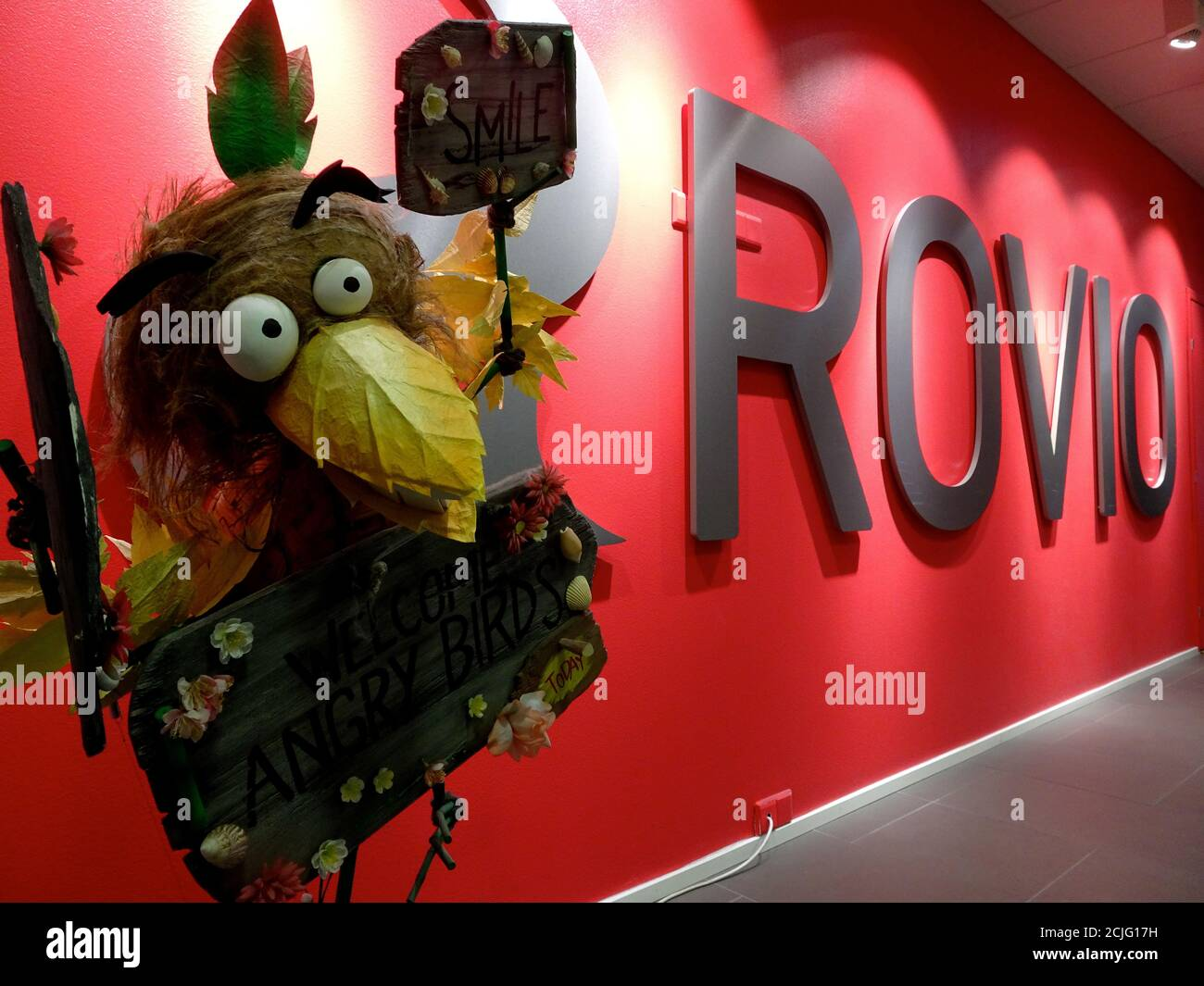 A company sign and an Angry Birds game character are seen at the Rovio  headquarters in Espoo, Finland March 13, 2019. Picture taken March 13,  2019. REUTERS/Anne Kauranen Stock Photo - Alamy