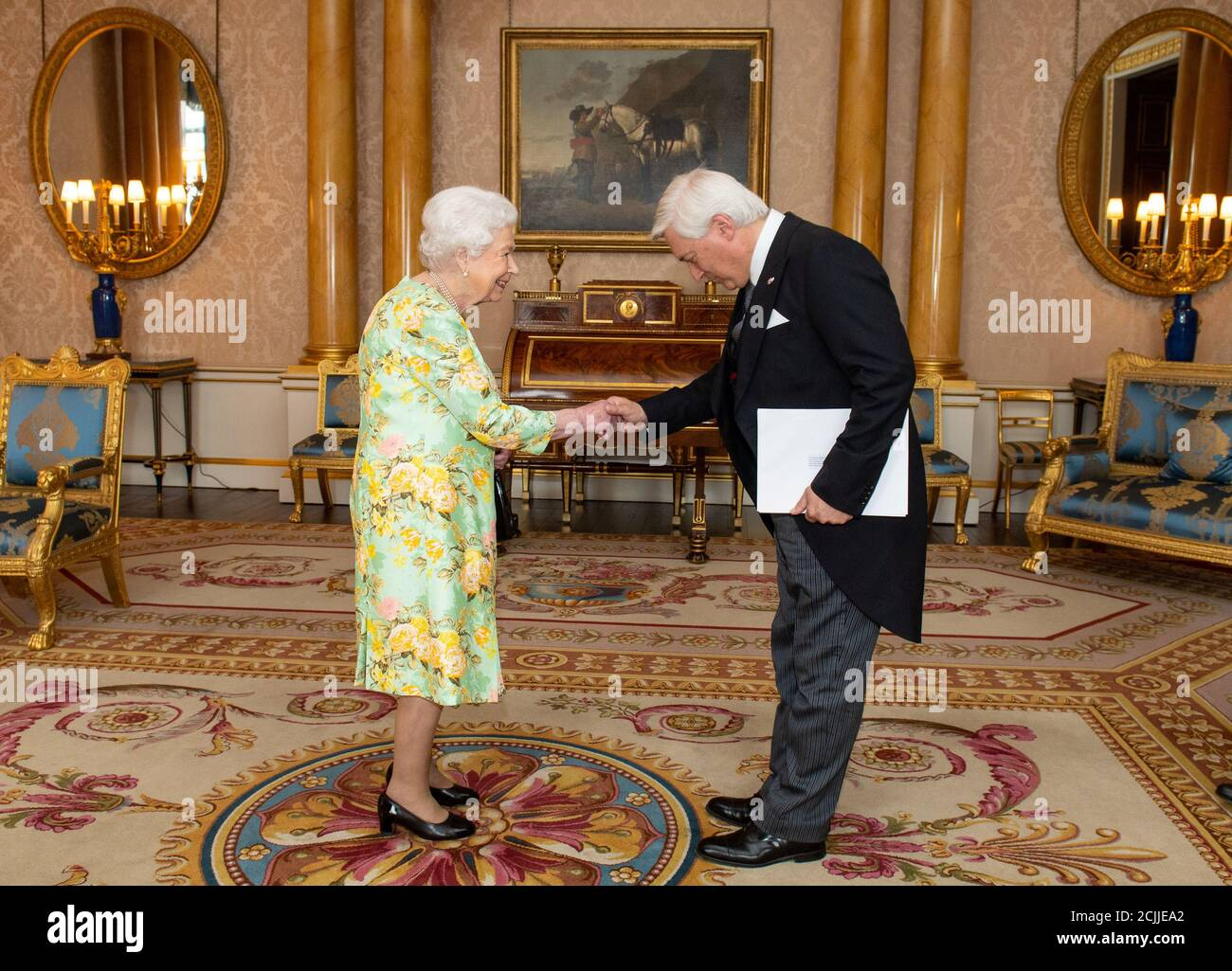 Britain's Queen Elizabeth II meets Ambassador of Norway Wegger Strommen during a private audience at Buckingham Palace in central London, Britain June 25, 2019. Picture taken June 25, 2019. Dominic Lipinski/Pool via REUTERS Stock Photo