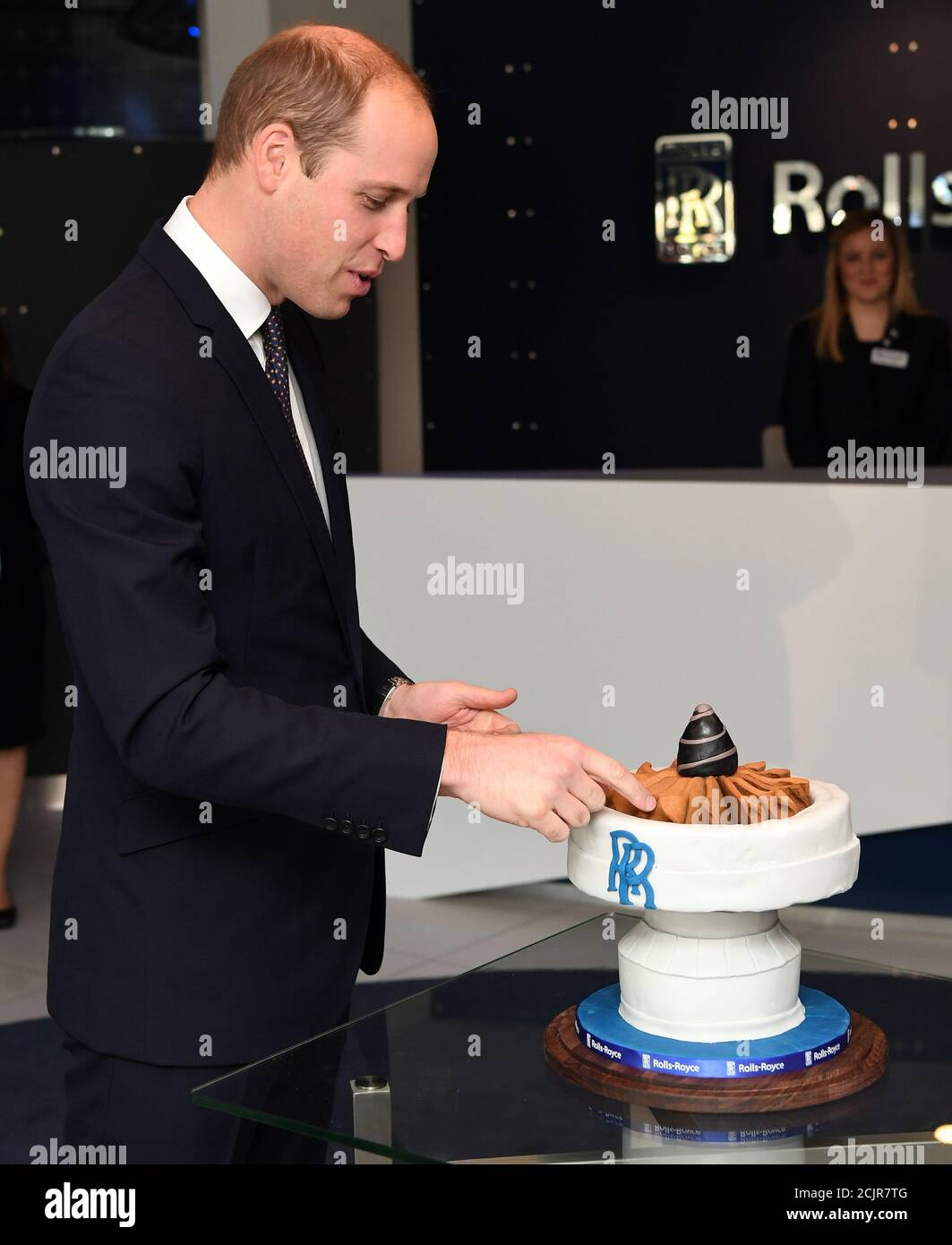 Britain S Prince William Is Presented With A Cake By Aerospace Engineer And Bake Off Runner Up Aero Andrew Smyth Not Seen During A Visit To The Rolls Royce Technology Centre In Derby November