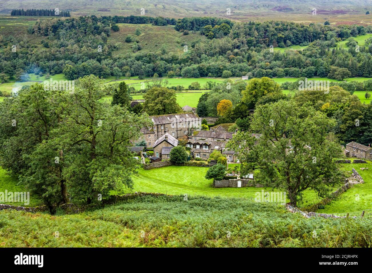 Looking up Upper Wharfedale over the Dales village of Buckden during a lovely walk along the fell bottom on a September morning - beautiful landscape. Stock Photo