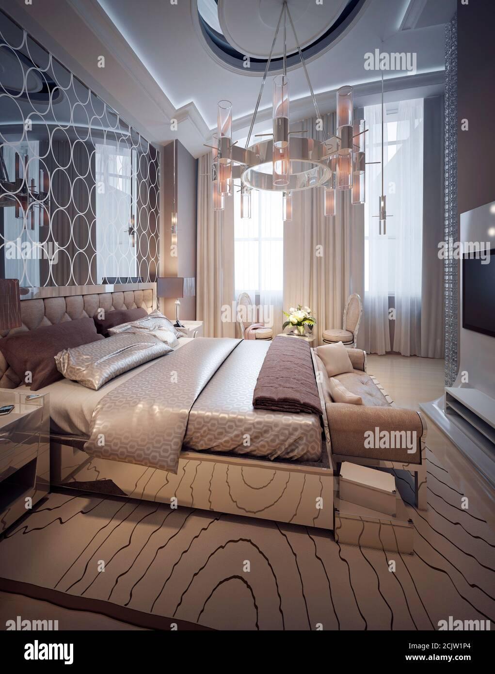 Luxury Bedroom Art Deco Style 3d Render Stock Photo Alamy